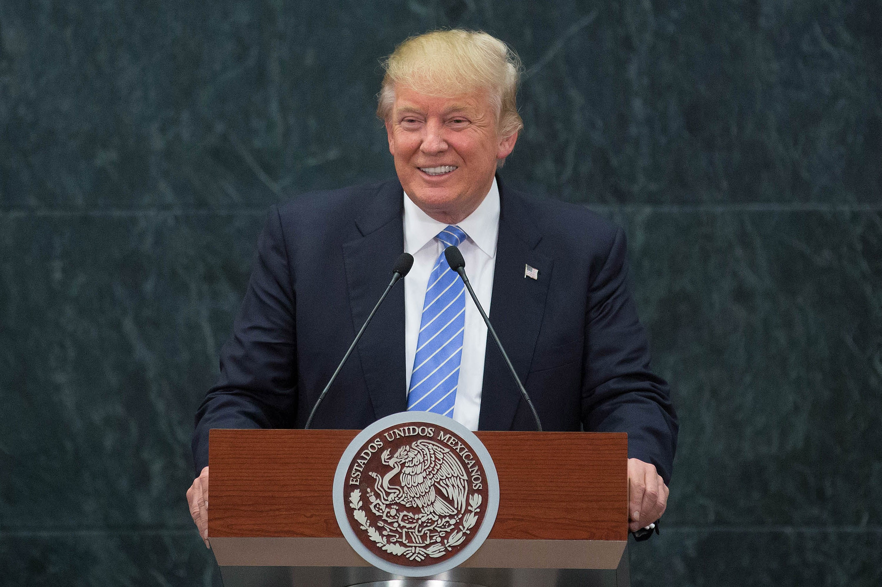 US Republican presidential candidate, Donald Trump speaks during a press conference with President of Mexico Enrique Pena Nieto (not seen) at Los Pinos presidential residence, in Mexico City, Mexico on August 31, 2016.