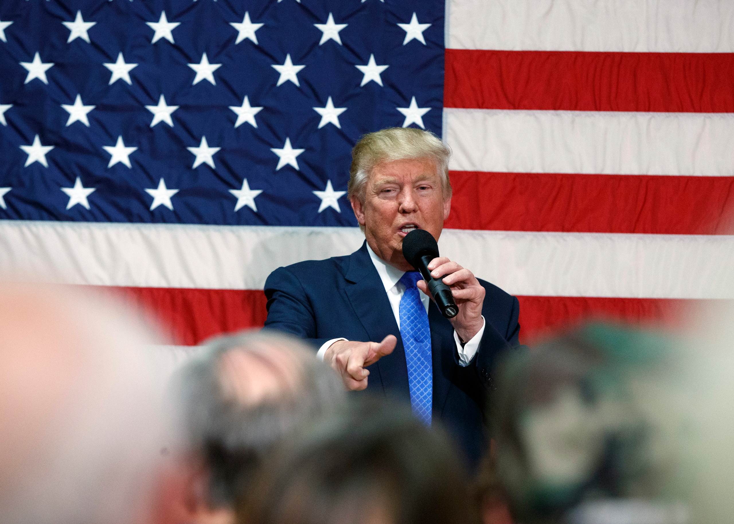 Republican presidential candidate Donald Trump speaks during a town hall in Sandown, N.H., on Oct. 6, 2016.