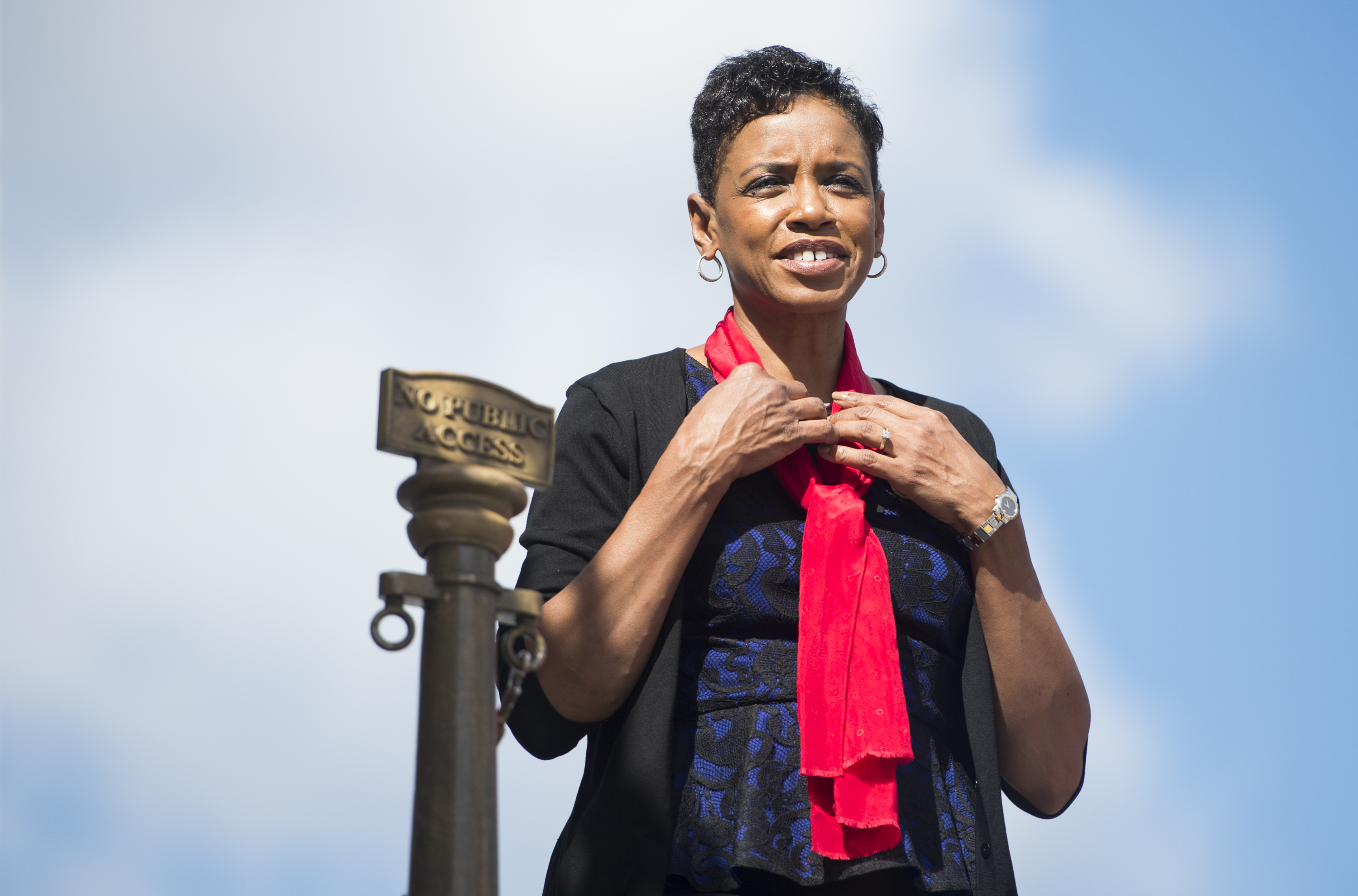 Rep. Donna Edwards on the House steps following a vote in the Capitol on Oct. 7, 2015.