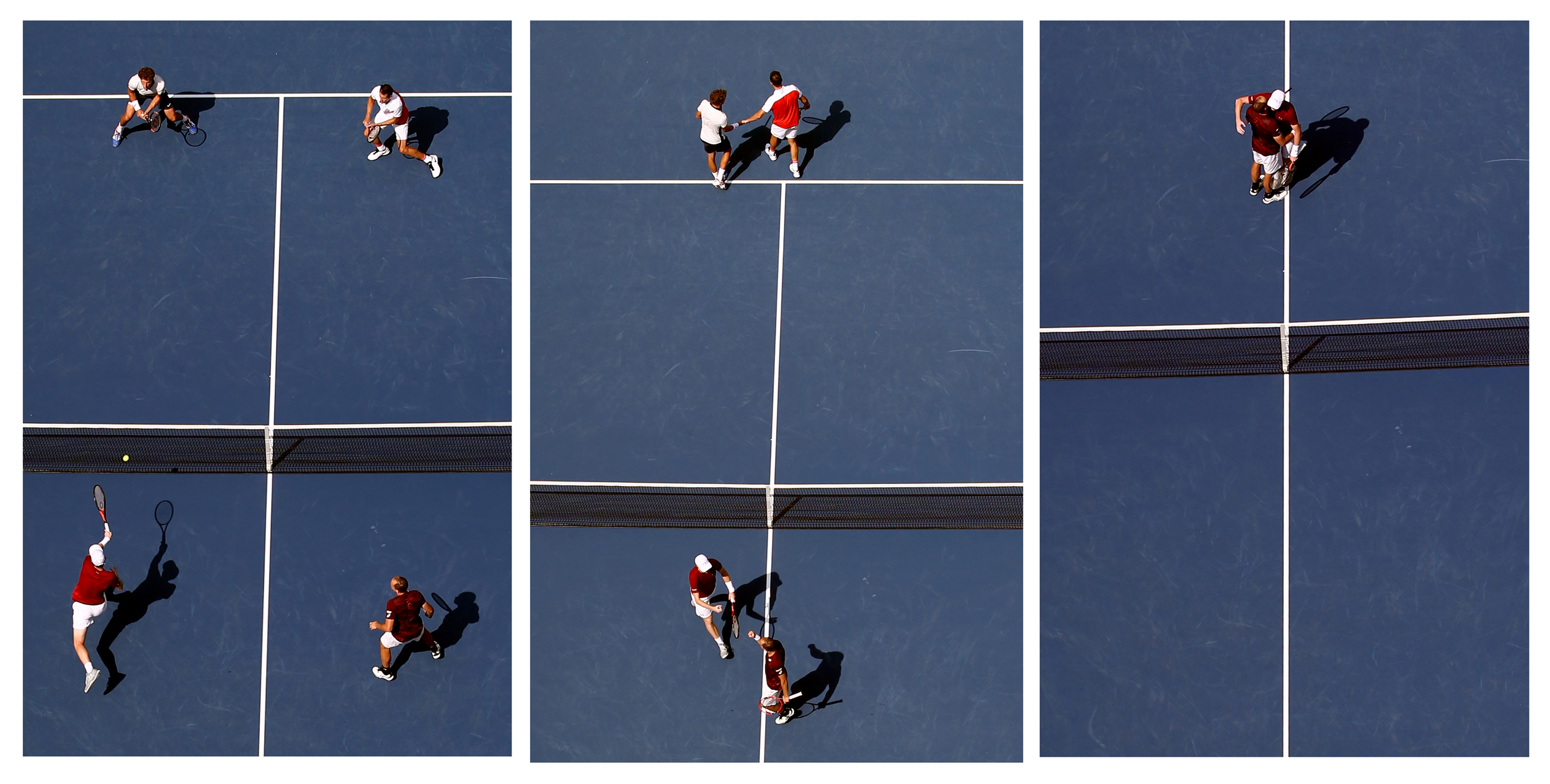 Jamie Murray (bottom L) of Great Britain and Bruno Soares (bottom R) of Brazil return a shot to Pablo Carreno Busta (top L) and Guillermo Garcia-Lopez (Top R) of Spain during their Men's Doubles Final Match