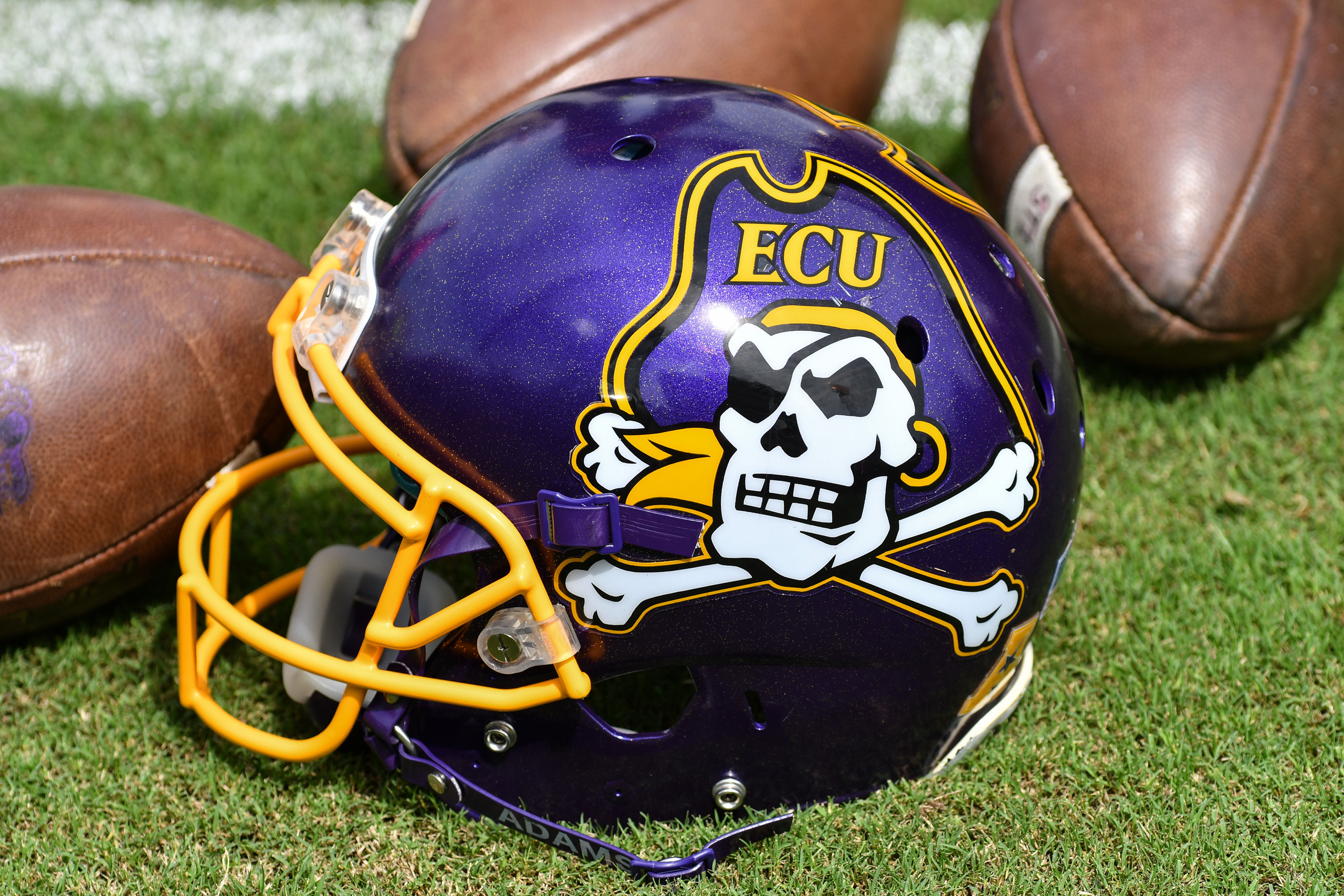 East Carolina helmet in a game between the East Carolina Pirates and the Central Florida Knights at Dowdy-Ficklen Stadium in Greenville, N.C., on Oct. 1, 2016.