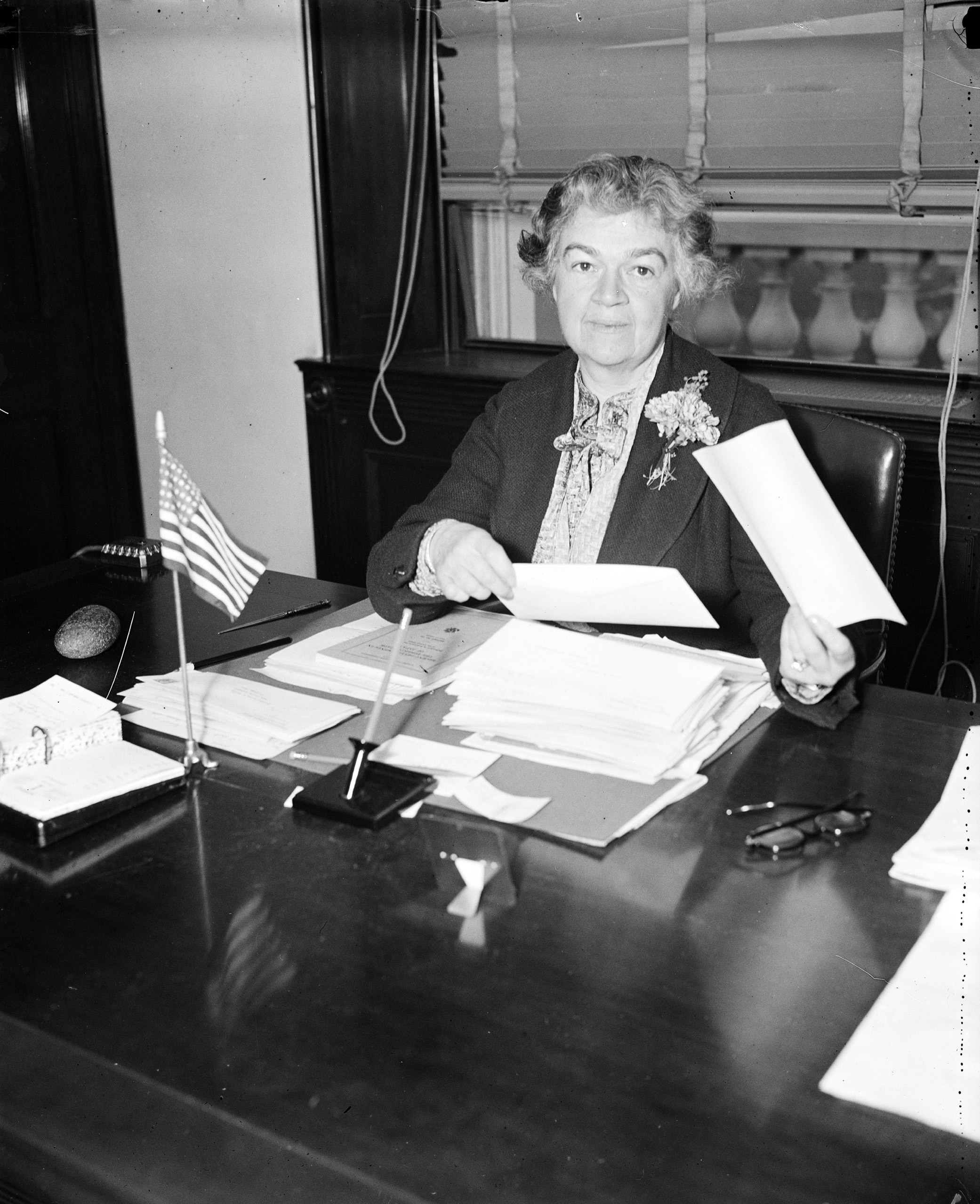 Edith Nourse Rogers at her desk, 1936.