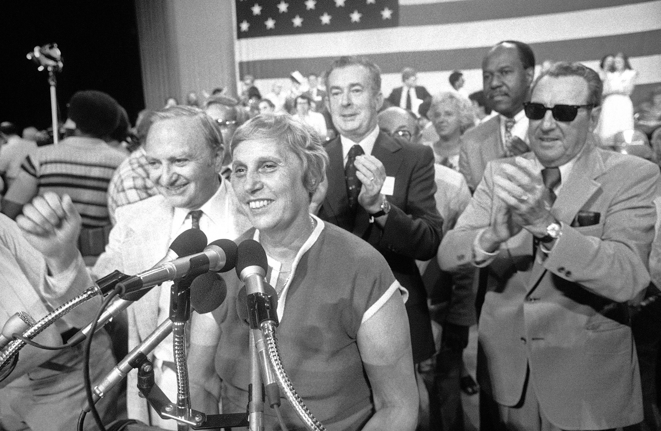 Gov. Ella T. Grasso receives the applause of the crowd as she began her acceptance speech as the party-endorsed gubernatorial candidate at the Democratic Party state nominating convention in Hartford, Connecticut on Saturday, July 22, 1978.