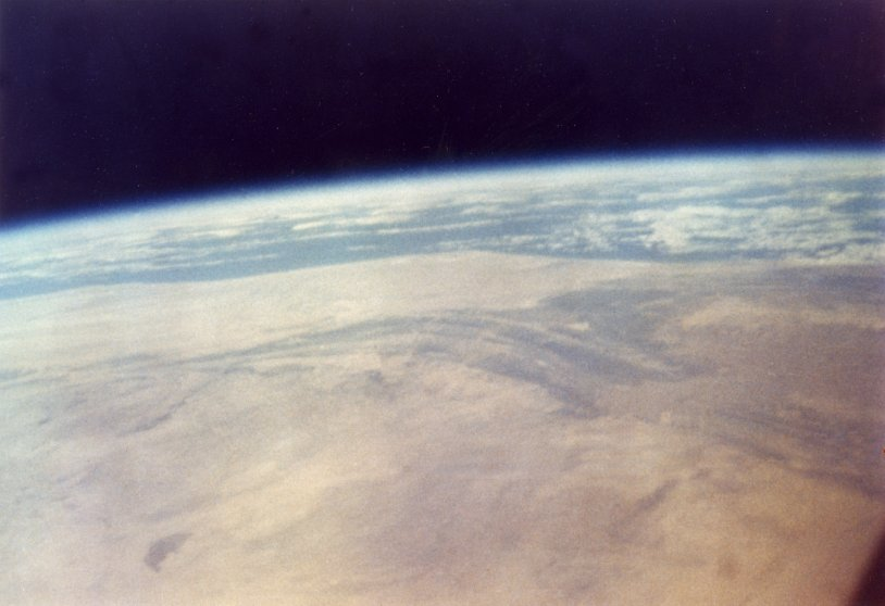 Color photograph of North Africa from space, taken by John Glenn in the Friendship 7 spacecraft during NASA's Project Mercury MA-6 mission, Feb. 20, 1962