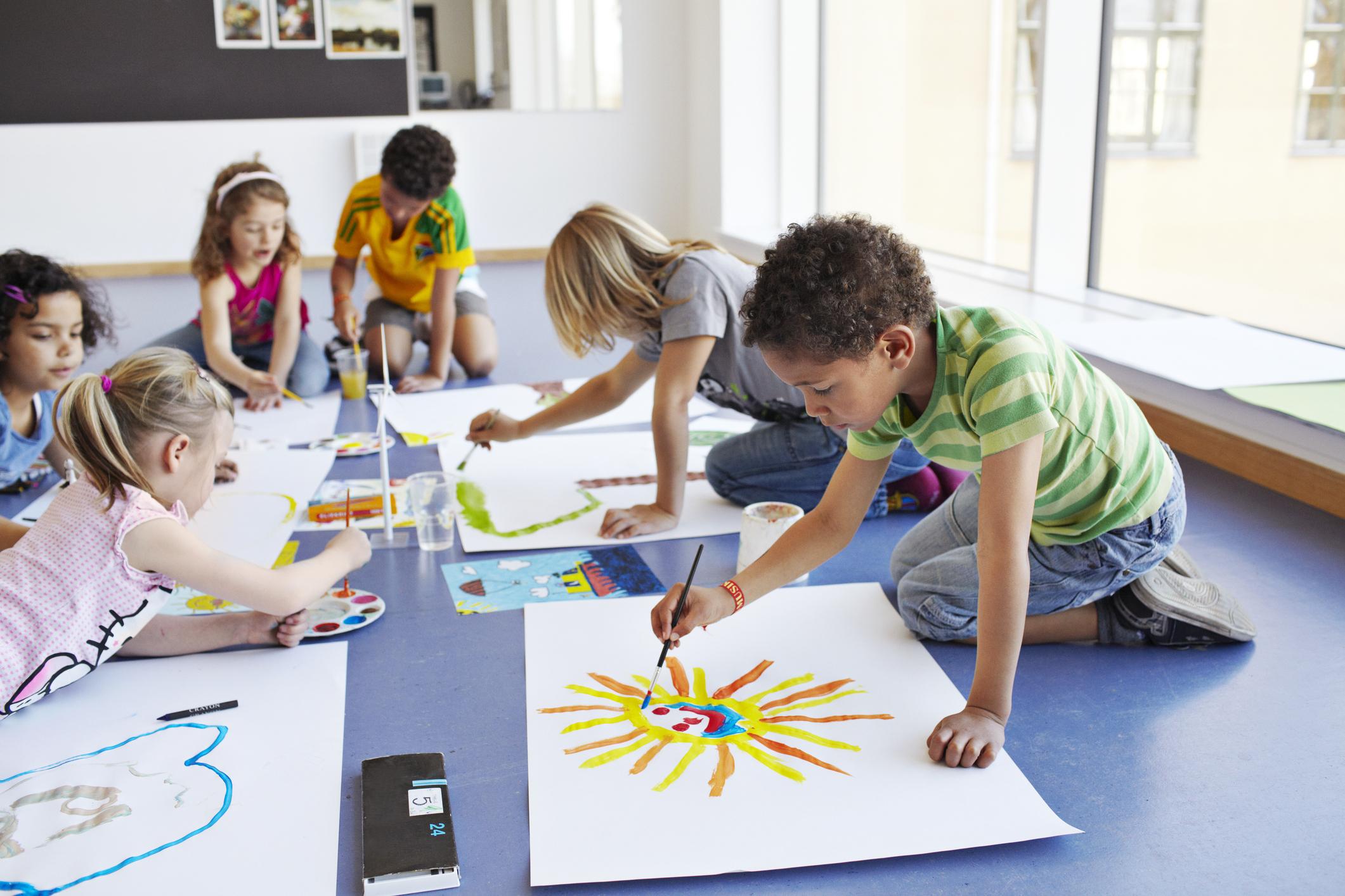 Shot on the floor in creative classroom