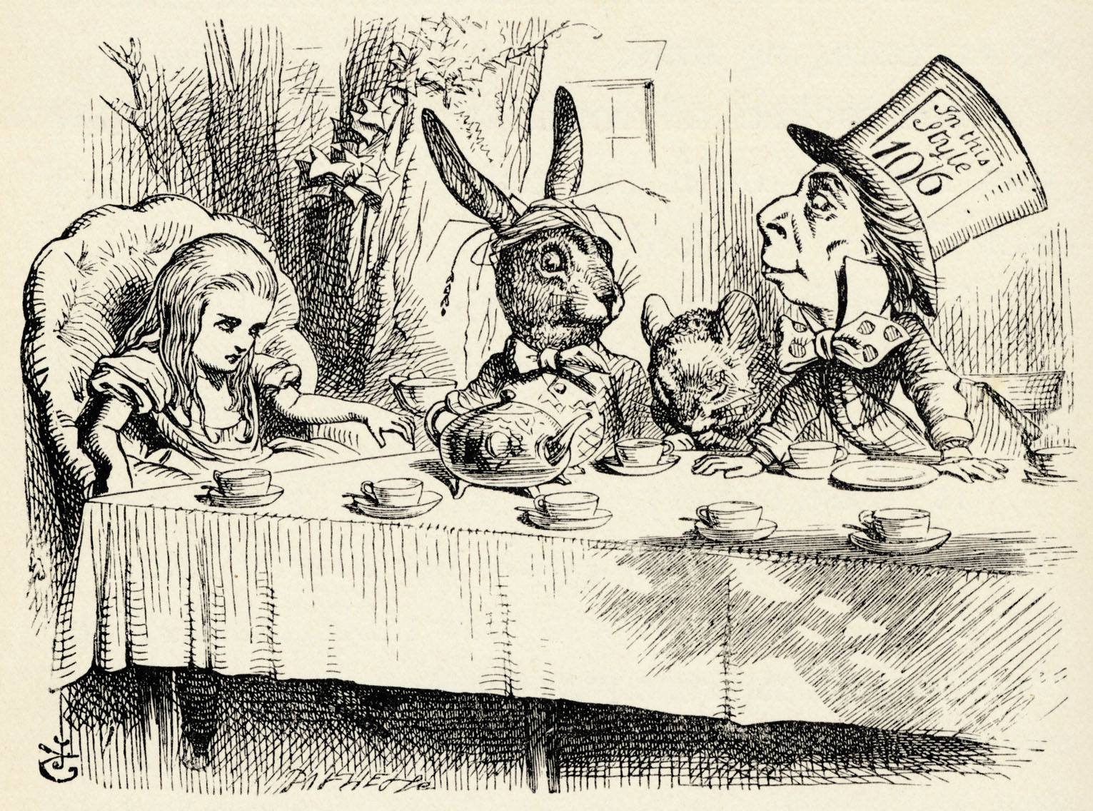 Alice in Wonderland - the Mad Hatter's Tea Party - from the book by Lewis Carroll (Charles Lutwidge Dodgson), English children's writer and mathematician 27 January 1832- 14 January 1898. First published 1865. Illustrations by John Tenniel 1820-1914.  (Photo by Culture Club/Getty Images)