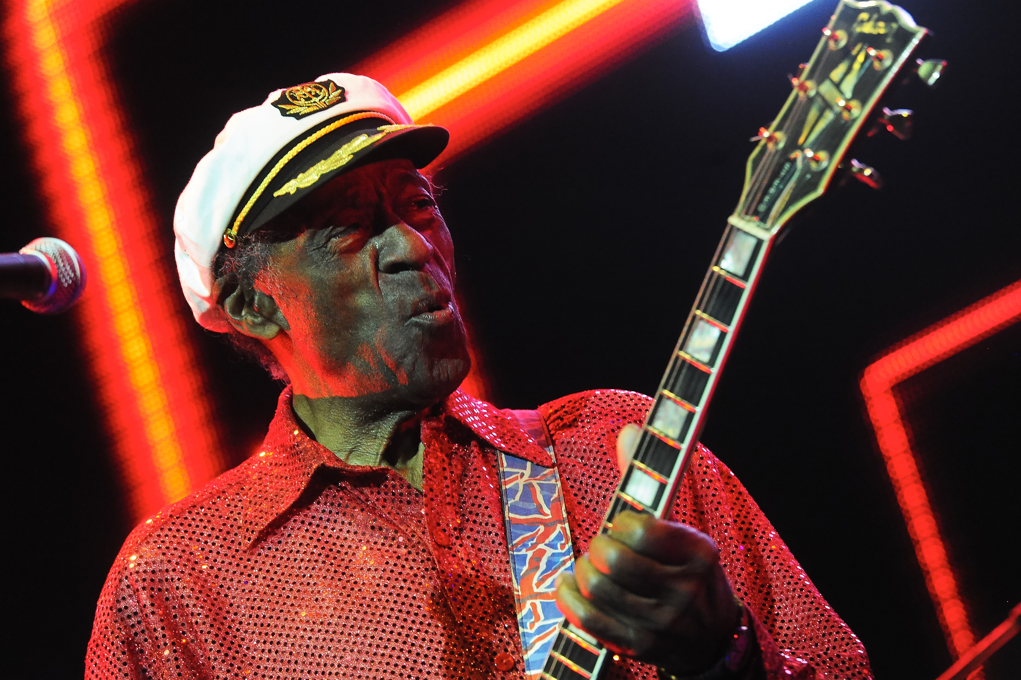 Chuck Berry performs at the Izvestia Hall on October 20, 2013 in Moscow, Russia.