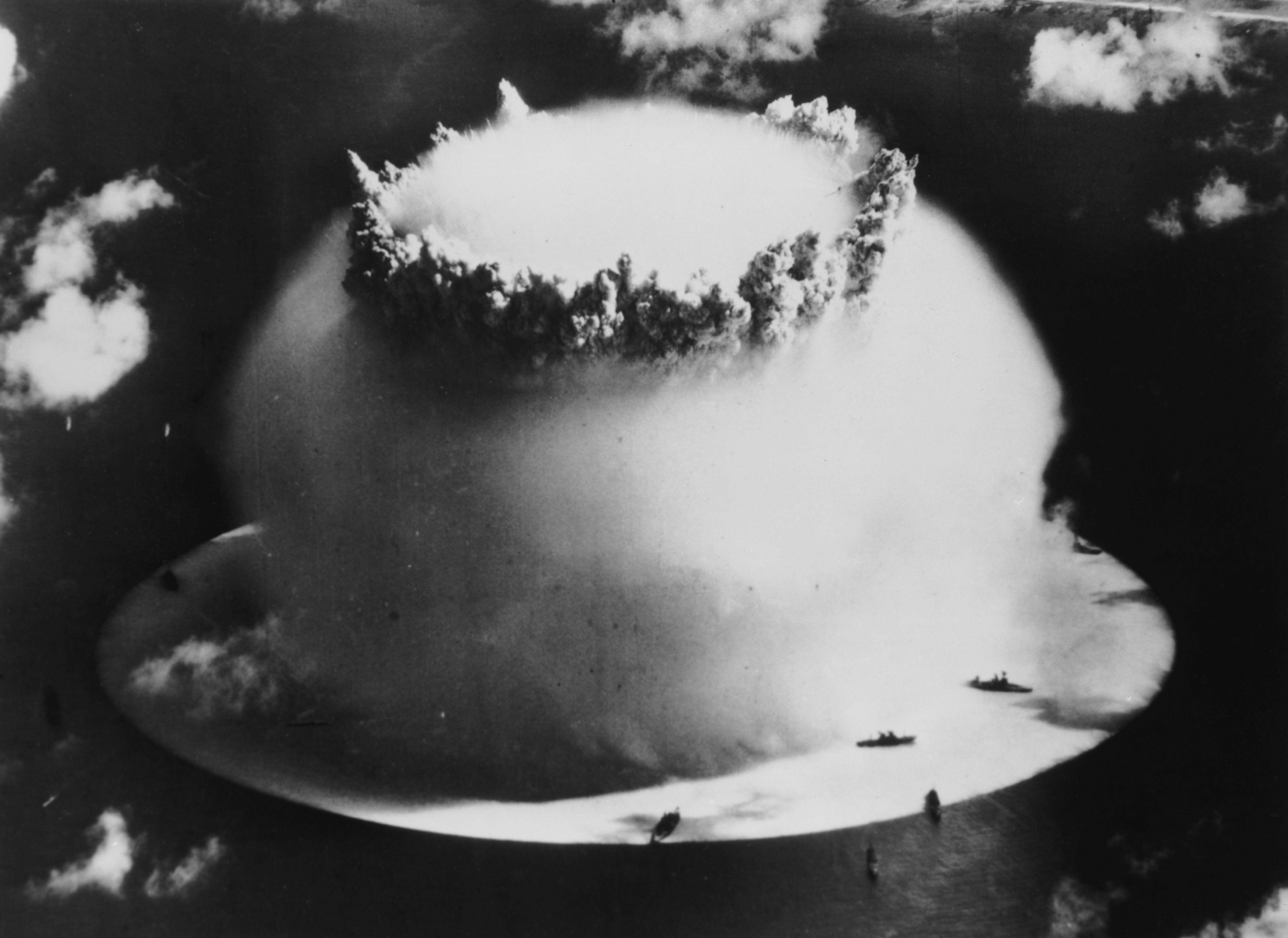 An atom bomb being exploded under water at Bikini Atoll in the Pacific Ocean.
