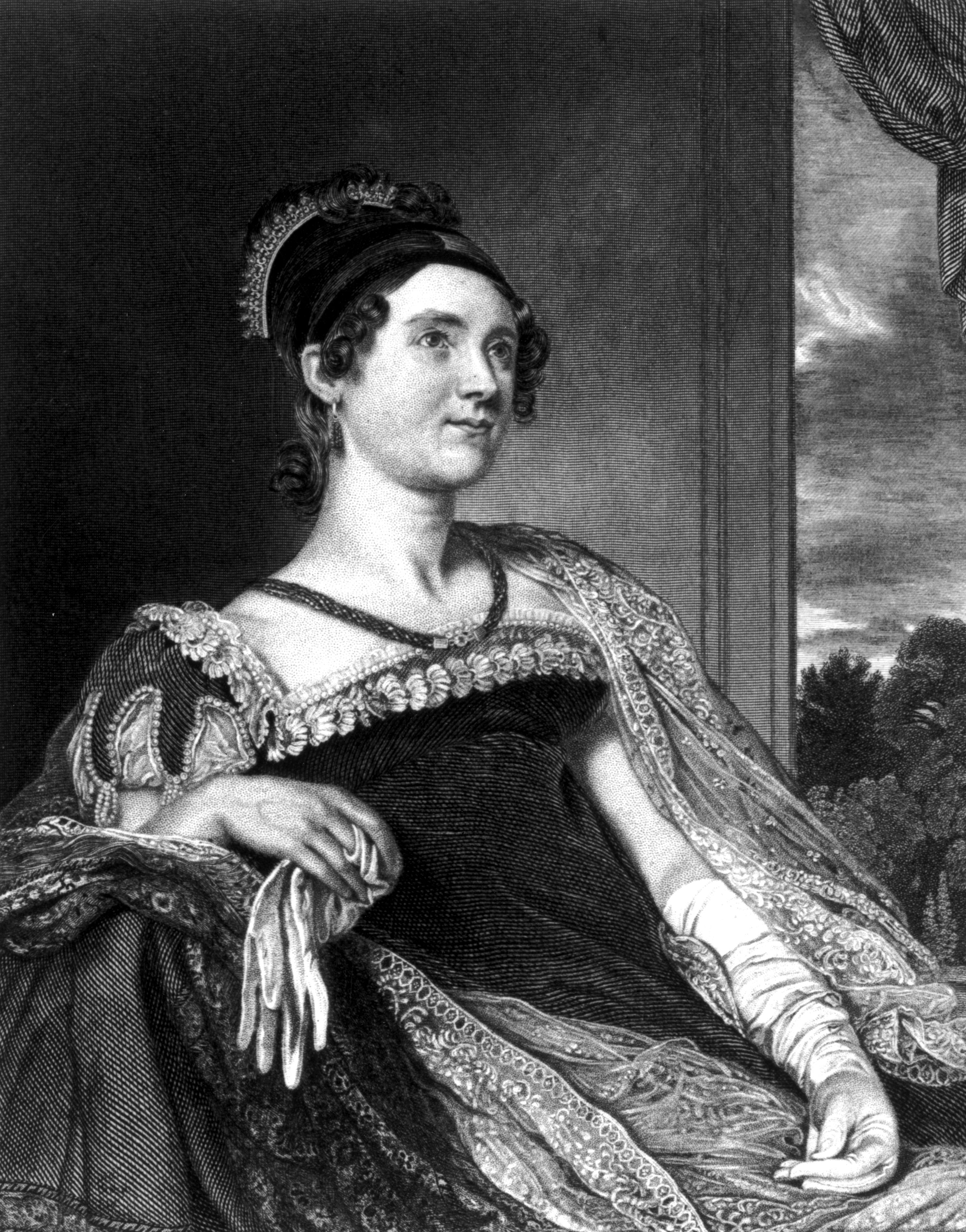 Louisa Catherine Adams (1775 - 1852), the wife of the sixth President of the United States of America, John Quincy Adams. Painting by GR Leslie and engraved by GE Storm, circa 1800.