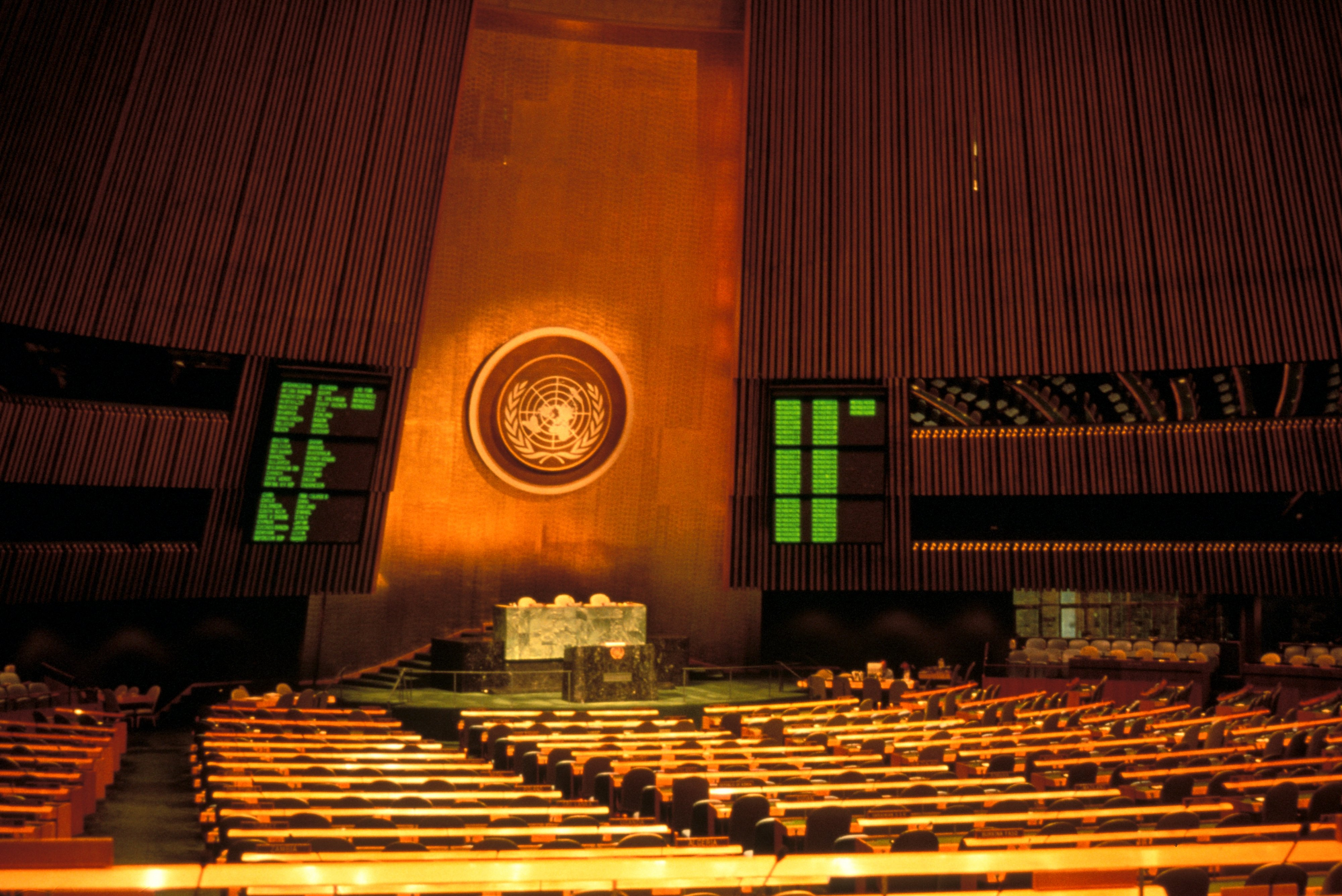 New York City, United Nations, General Assembly, Interior.