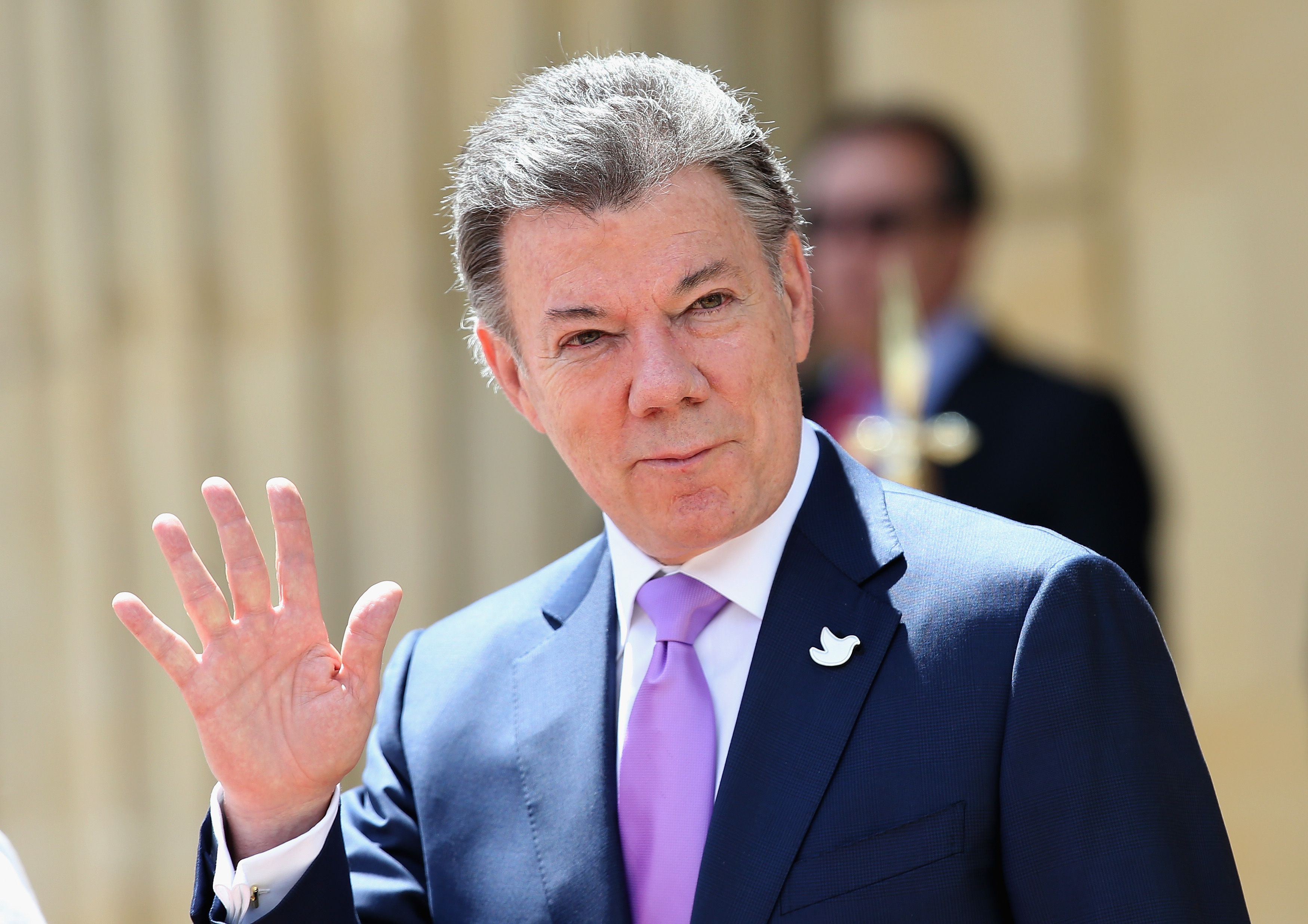 President of Colombia Juan Manuel Santos at the Presidential Palace for an Official Welcome in Bogota, Colombia, on Oct. 29, 2014.