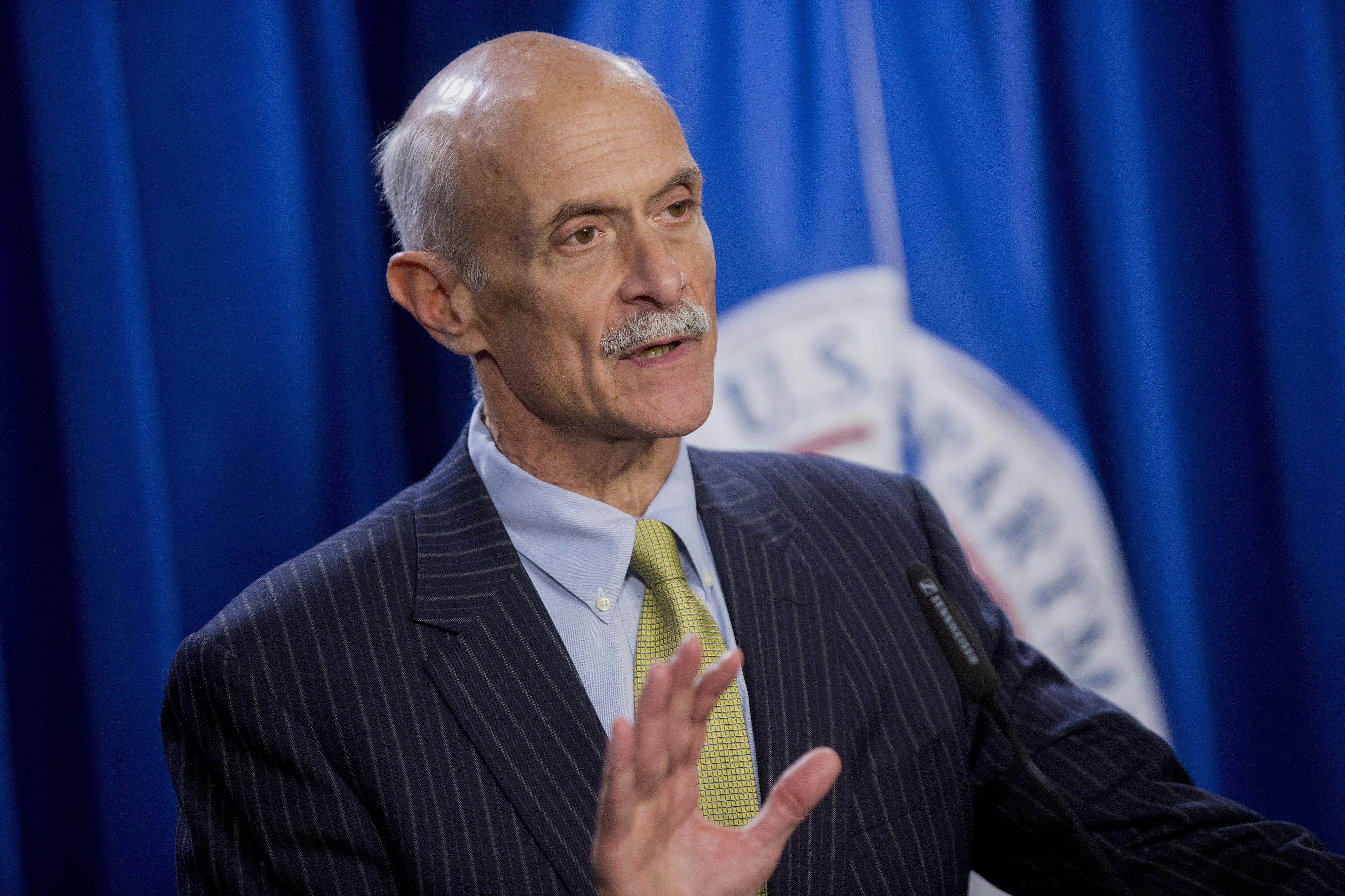 Michael Chertoff, former U.S. secretary of Homeland Security (DHS), speaks during a news conference with Jeh Johnson, U.S. secretary of Homeland Security (DHS), and former secretaries of Homeland Security Tom Ridge, not pictured, at the U.S. Immigration and Customs Enforcement (ICE) in Washington, D.C., U.S., on Wednesday, Feb. 25, 2015. Bloomberg—Bloomberg via Getty Images