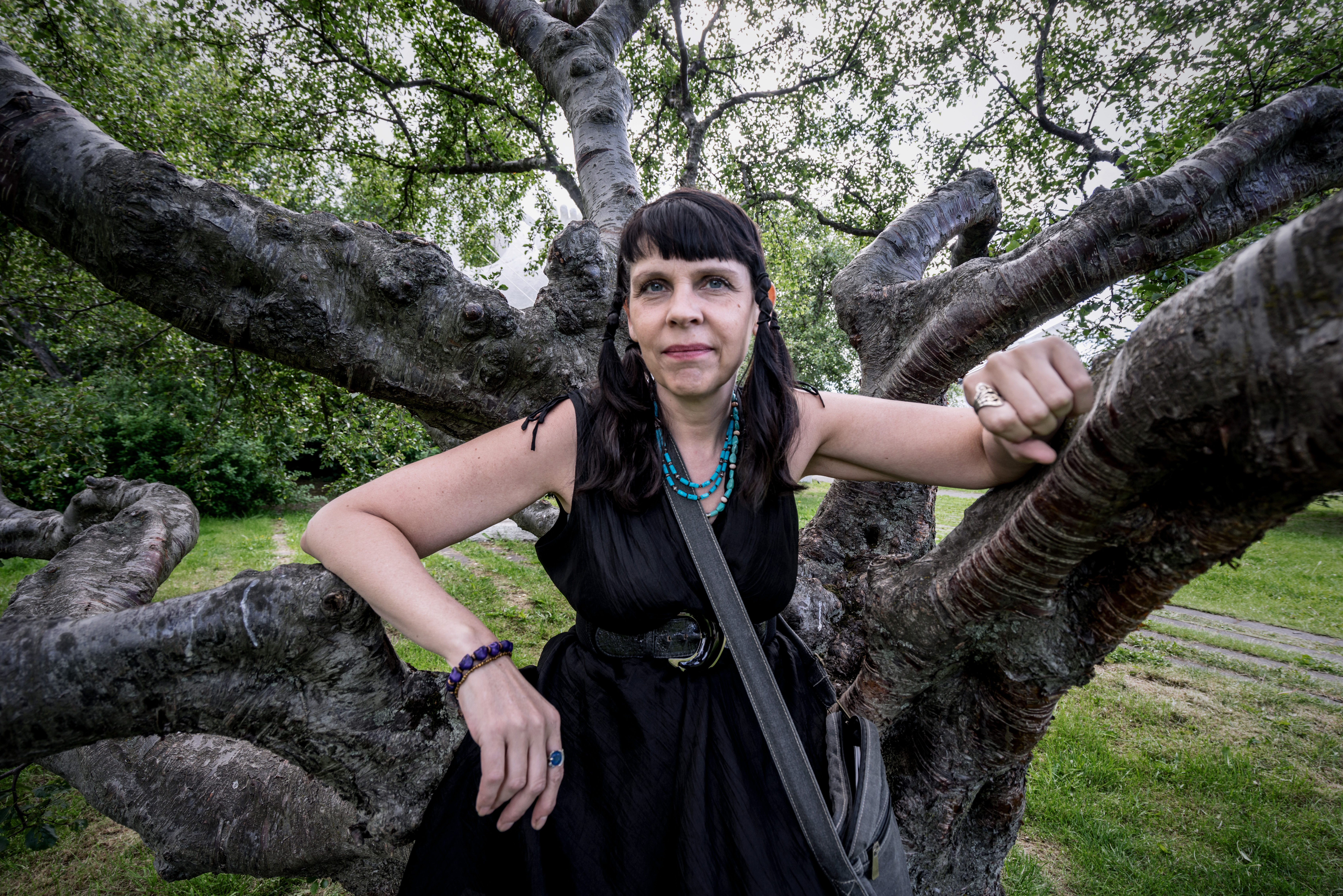 Birgitta Jonsdottir, activist member of the Icelandic parliament representing the Pirate Party, stands in front of a sculpture at an Icelandic sculpture park on July 9, 2015