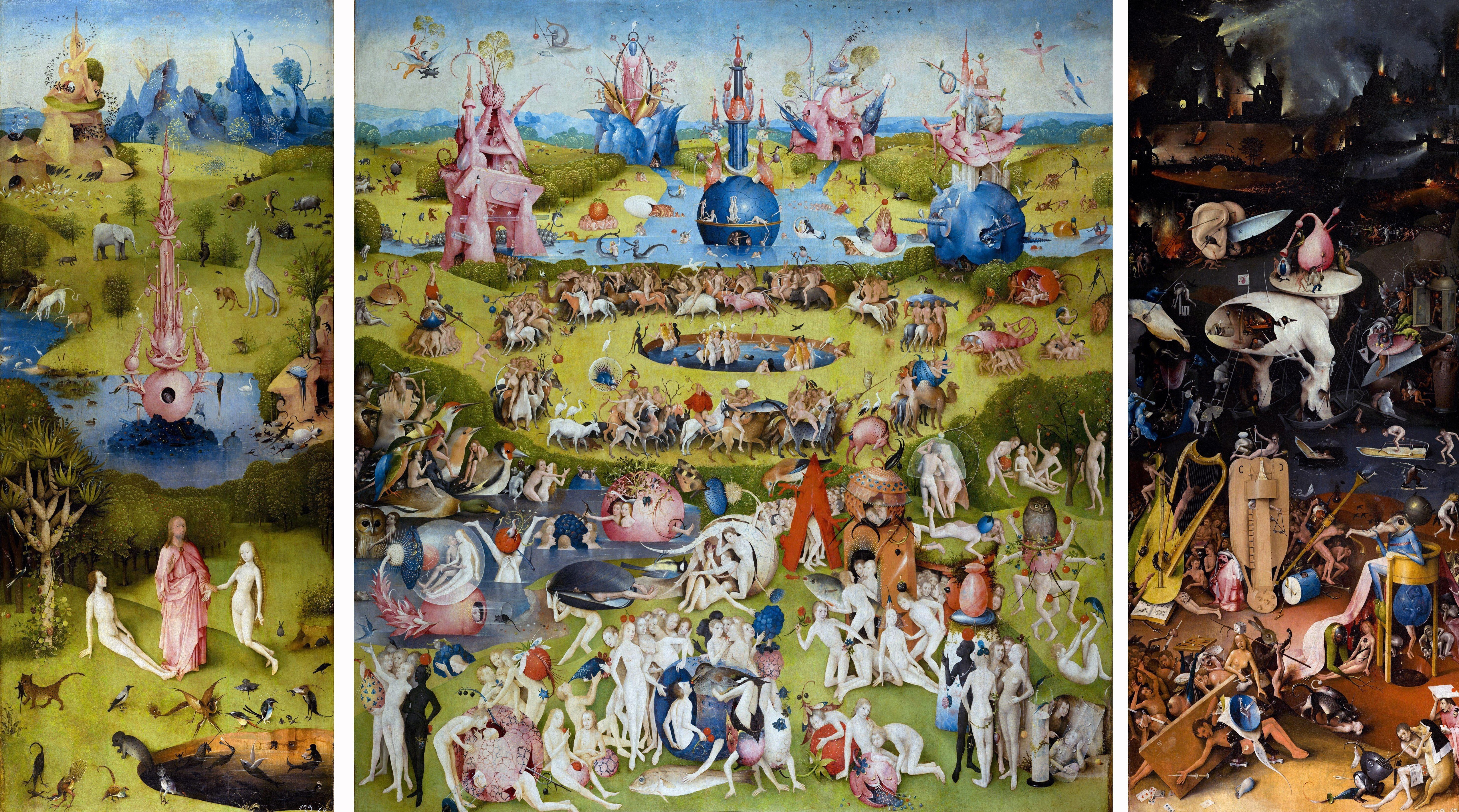 Painting titled 'The Garden of Earthly Delights' the modern title given to a triptych painted by the Early Netherlandish master Hieronymus Bosch (1450-1516). Dated 15th Century. (Photo by: Universal History Archive/UIG via Getty Images)