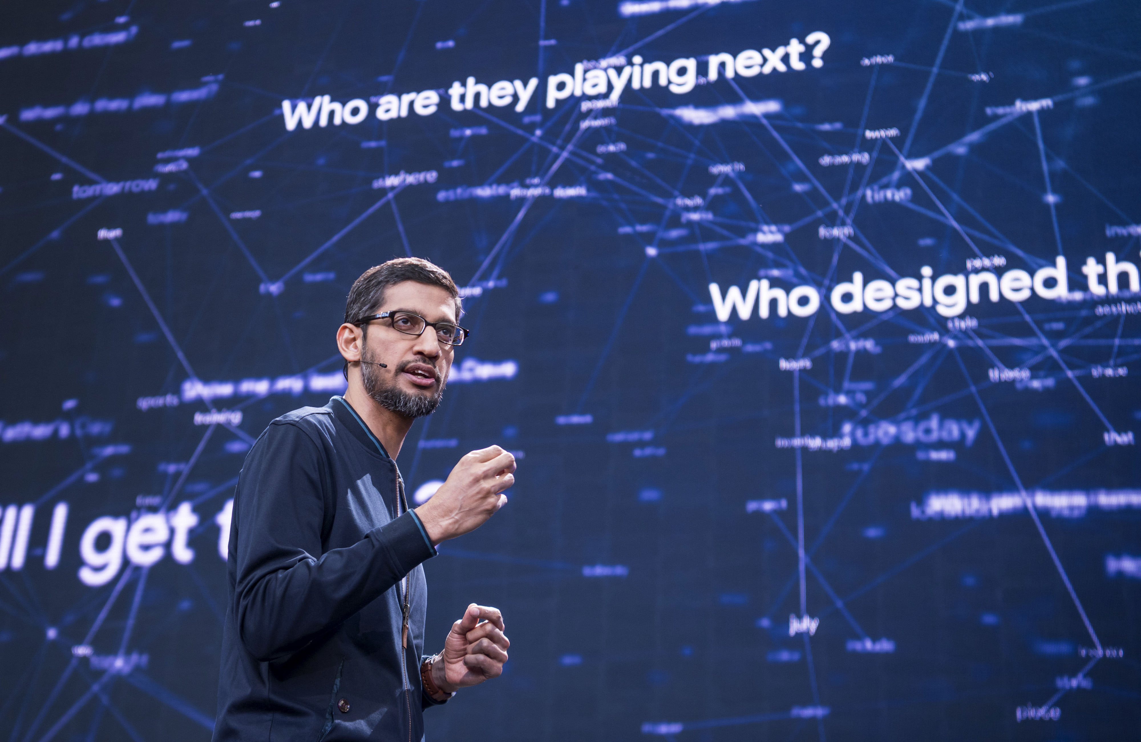 Sundar Pichai, chief executive officer of Google Inc., speaks during the Google I/O Annual Developers Conference in Mountain View, California on Wednesday, May 18, 2016.