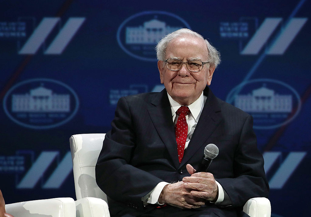 Warren Buffet participates in a discussion during the White House Summit on the United State Of Women in Washington, DC, on June 14, 2016.