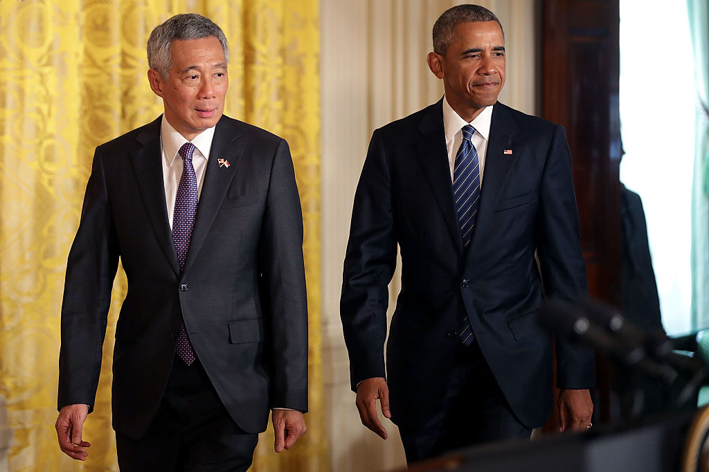 WASHINGTON, DC - AUGUST 02:  Singapore's Prime Minister Lee Hsien Loong (L) and U.S. President Barack Obama hold a joint news conference in the East Room at the White House August 2, 2016 in Washington, DC. Later this evening President Obama will host a State Dinner for Prime Minister Loong and his wife Ho Ching.  (Photo by Chip Somodevilla/Getty Images)