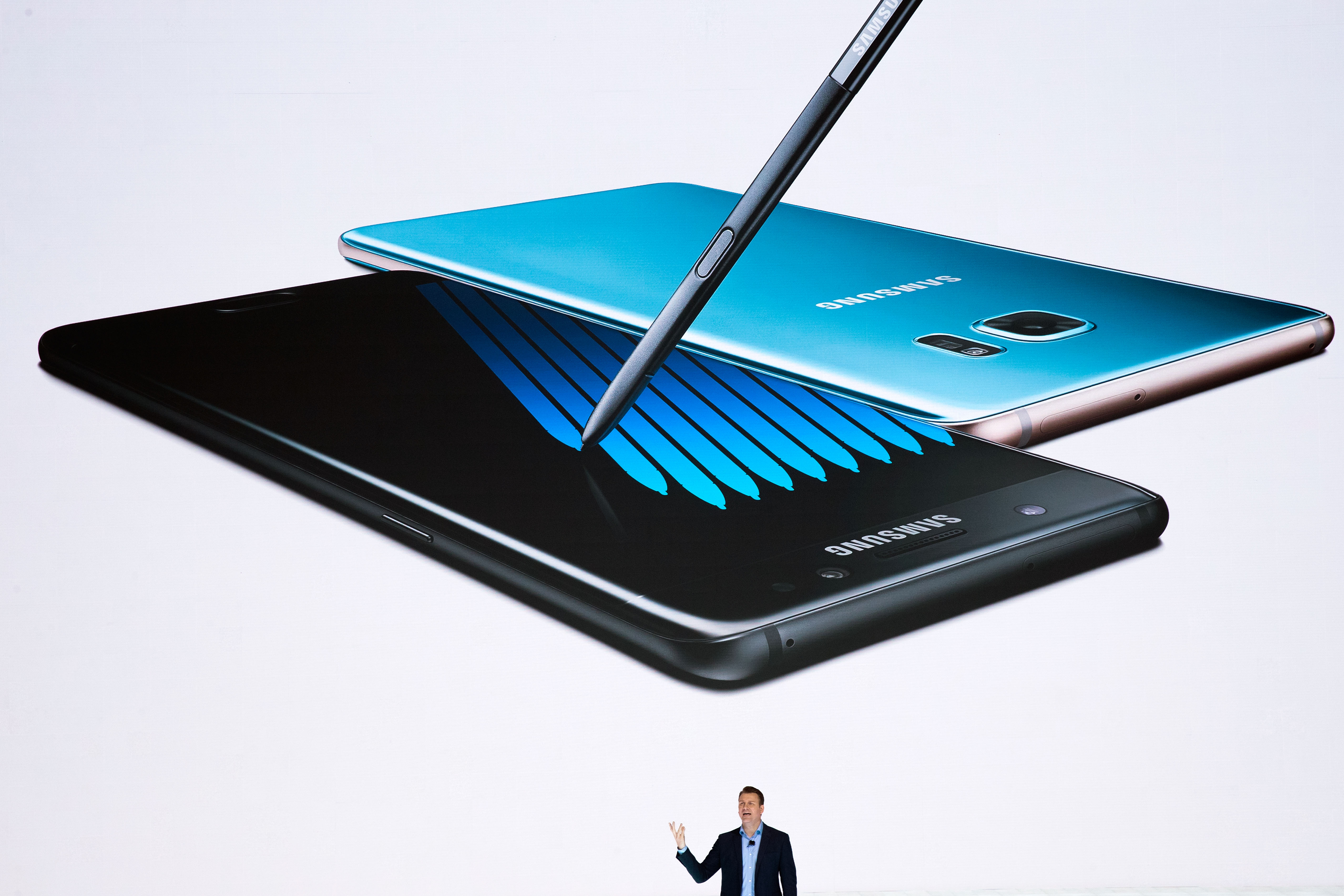 Justin Denison, senior vice president of product strategy at Samsung, speaks during a launch event for the Samsung Galaxy Note 7 at the Hammerstein Ballroom, August 2, 2016 in New York City.