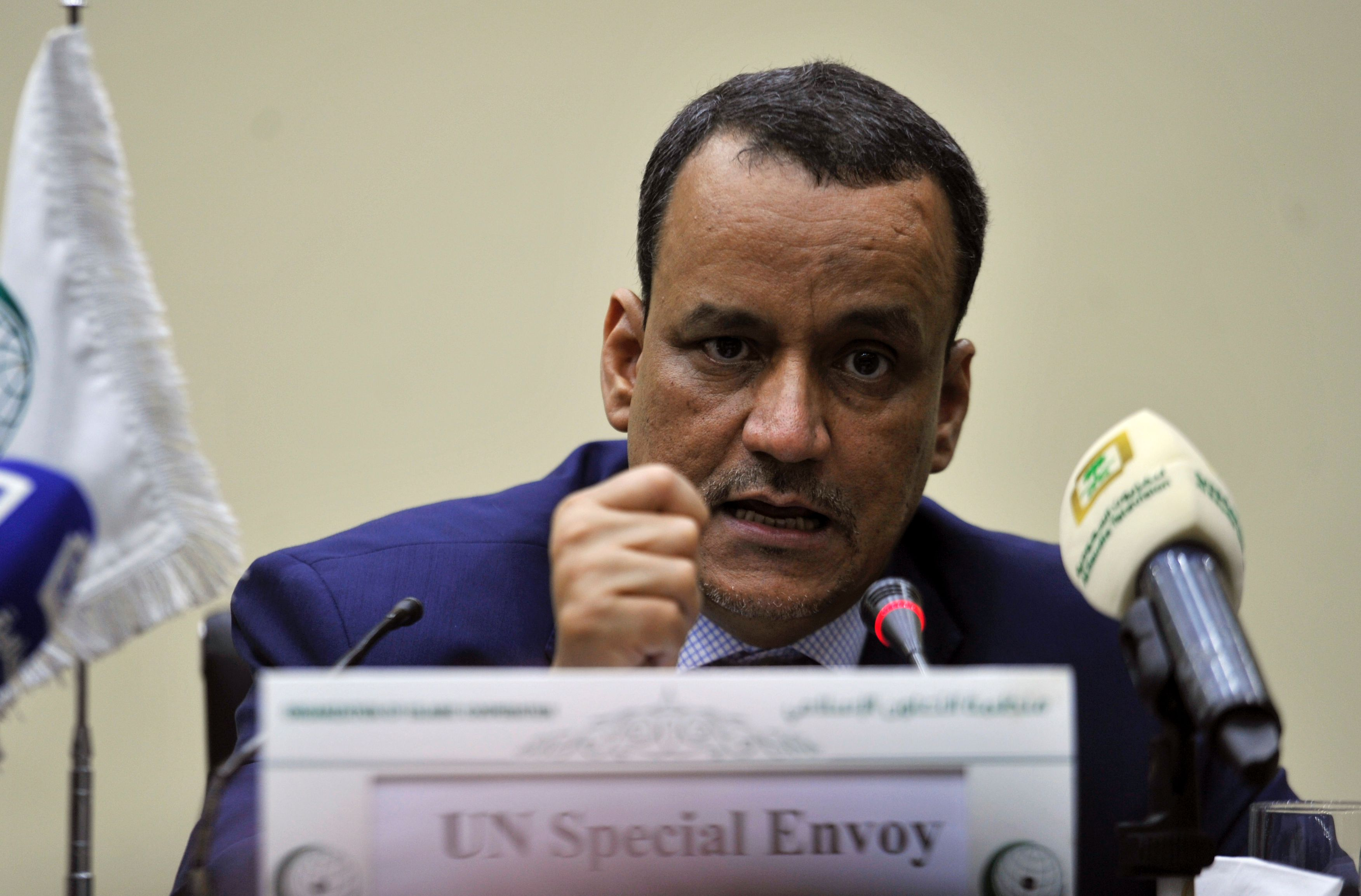 United Nations Special Envoy for Yemen Ismail Ould Cheikh Ahmed speaks during a press conference with the secretary general of the Organization of Islamic Cooperation (OIC) in Jeddah on August 8, 2016.