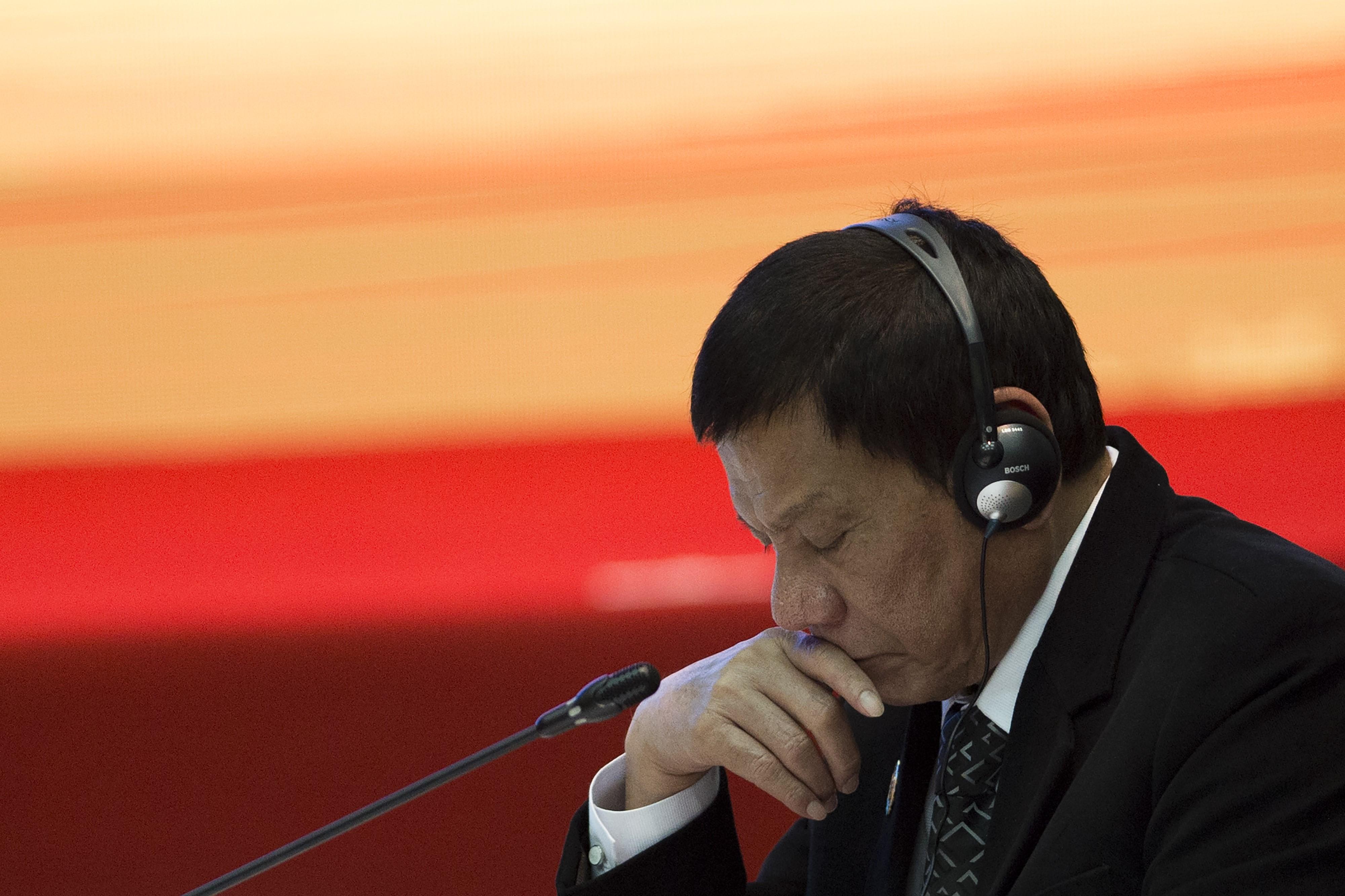 Philippine President Rodrigo Duterte attends the ASEAN Plus Three Summit in Vientiane on September 7, 2016.