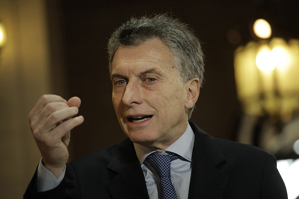 Mauricio Macri, president of Argentina, speaks during a Bloomberg Television interview on the sidelines of the Argentina Business & Investment forum in Buenos Aires, Argentina, on Tuesday, Sept. 13, 2016. Macri is loosening fiscal discipline as he attempts to jolt South America's second largest economy out of protracted recession and encourage foreign investment. Photographer: Diego Levy/Bloomberg via Getty Images