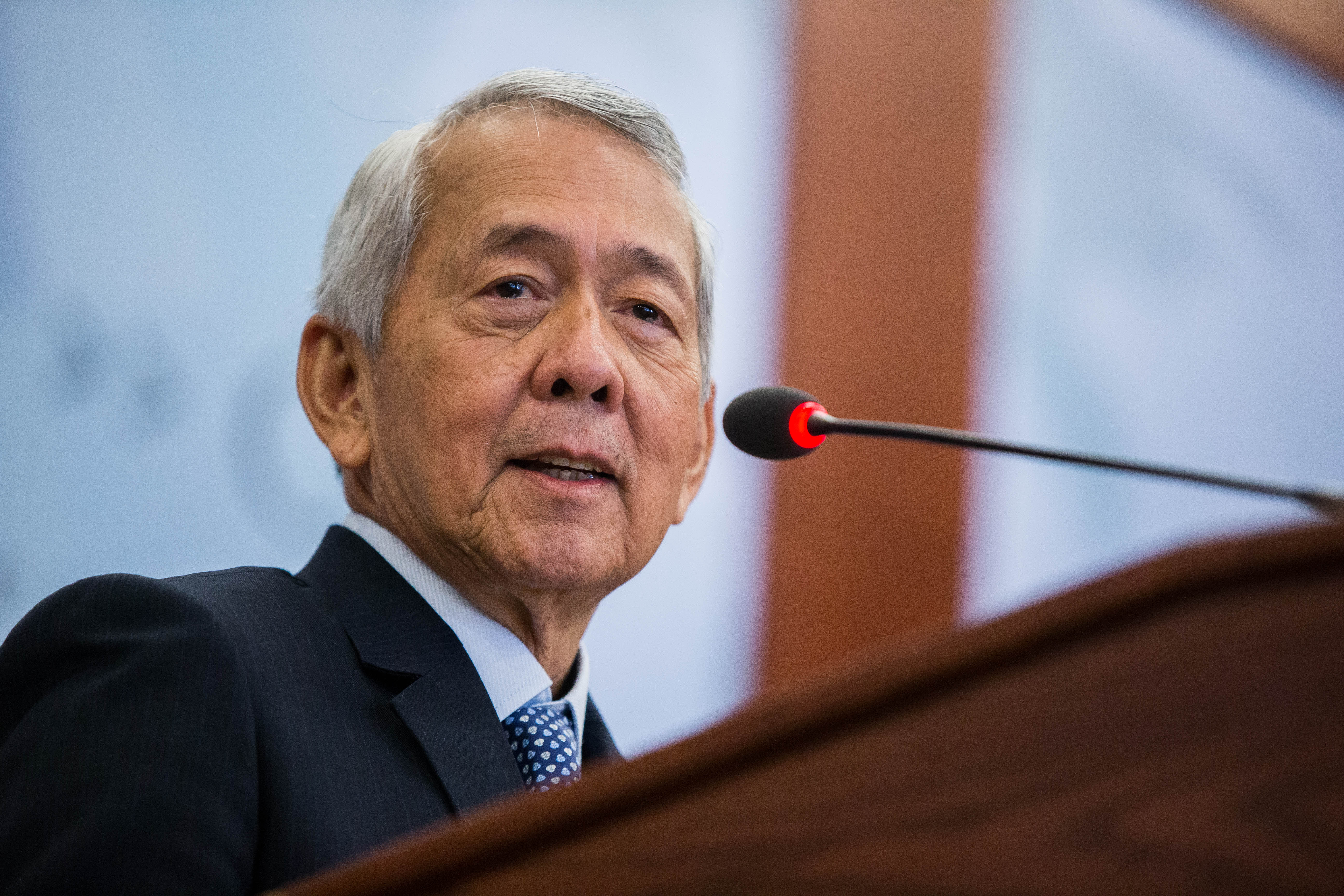 Secretary of Foreign Affairs of the Philippines Perfecto Yasay Jr. speaks during a forum at the Center for Strategic and International Studies headquarters in Washington, D.C.,  Sept. 15, 2016.