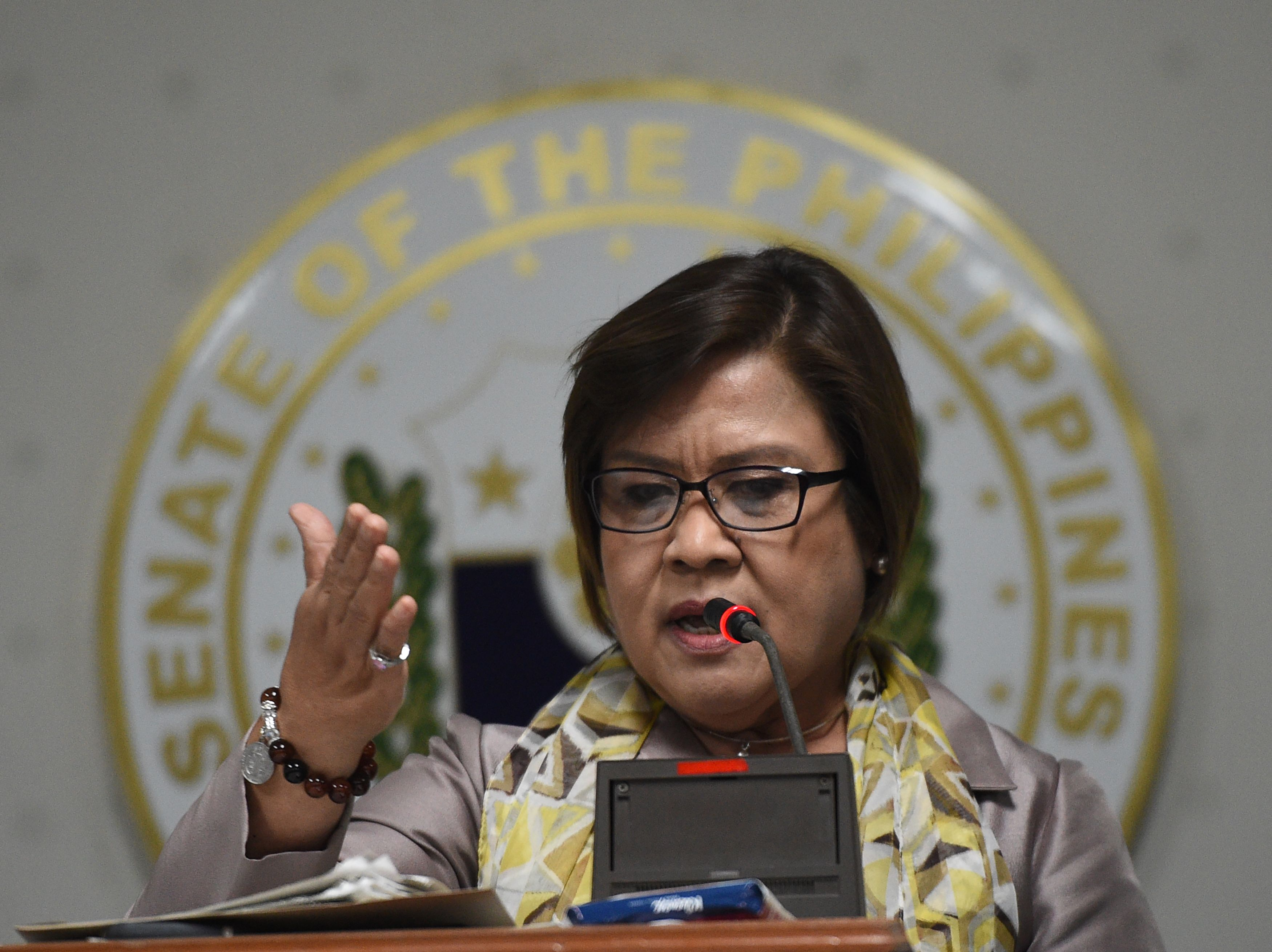 Philippine Senator Leila de Lima during a press conference at the Senate in Manila on Sept. 22, 2016