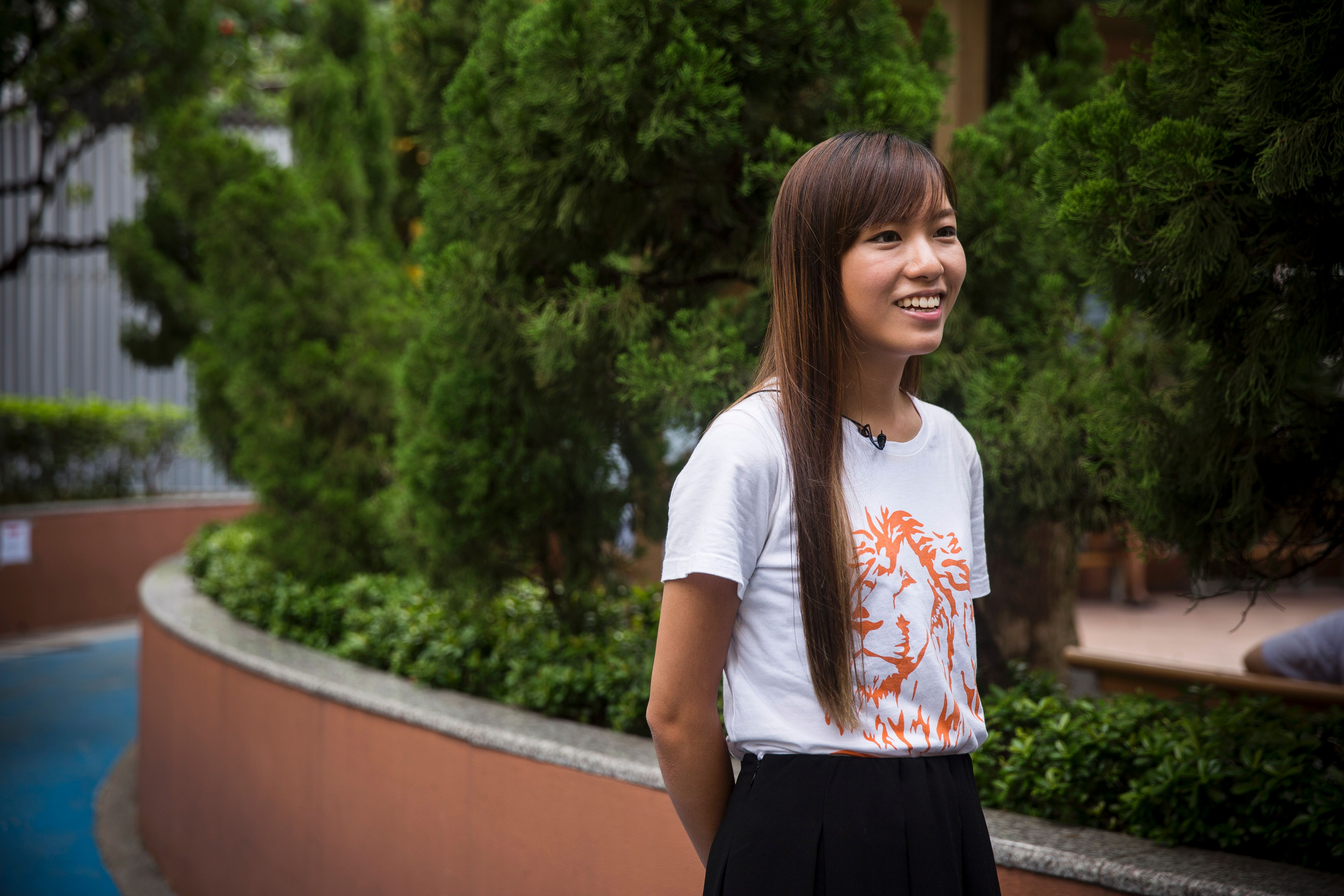 This picture taken on Sept. 15, 2016, shows Yau Wai Ching, from the political party Youngspiration, who was elected to the Hong Kong Legislative Council as a member for West Kowloon in the recent 2016 legislative elections