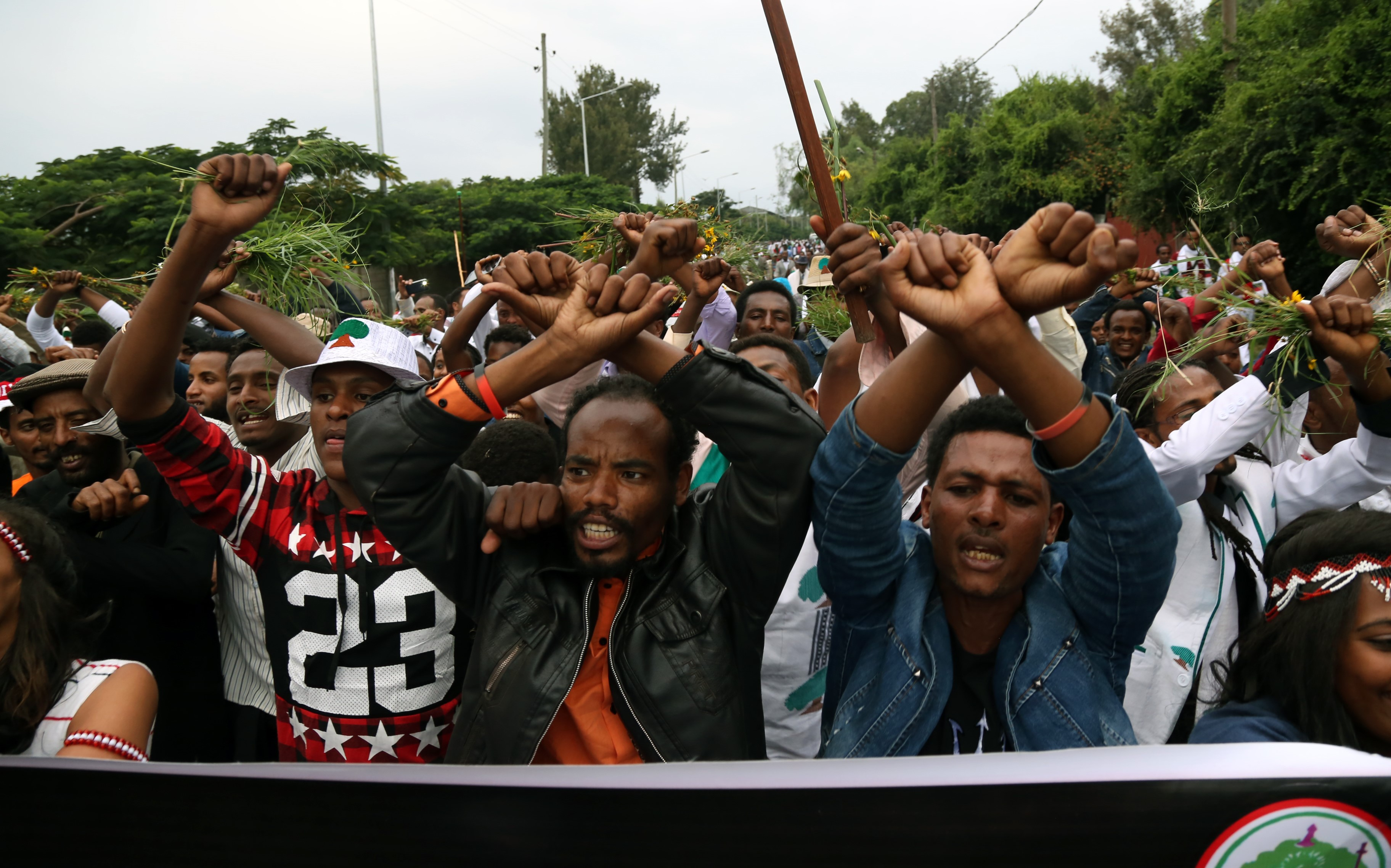 Oromo people stage a protest against government during the Oromo new year holiday Irreechaa' near the Hora Lake at Dberzit town in Addis Ababa, Ethiophia on October 2, 2016.