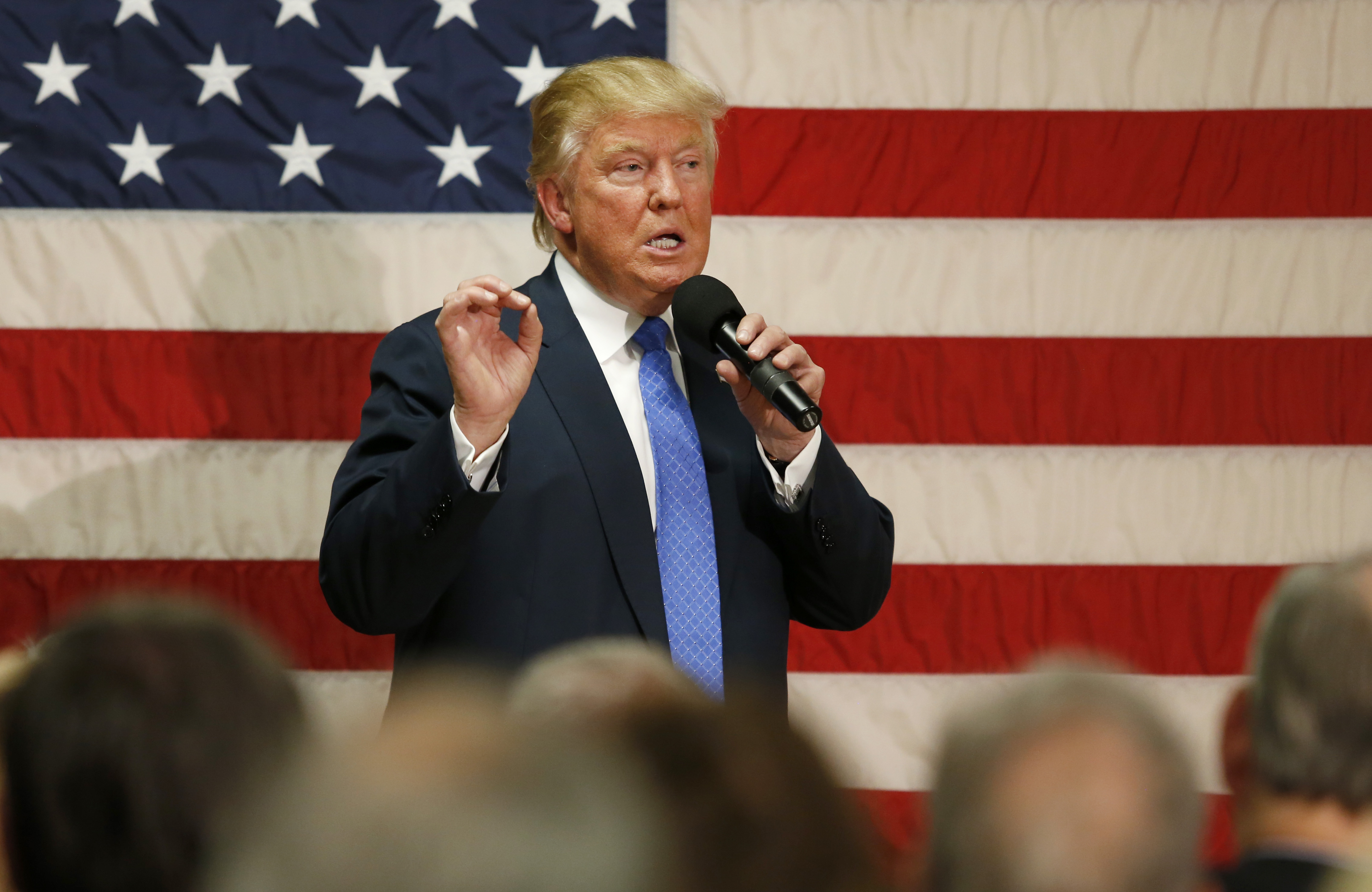 U.S. Republican presidential candidate Donald Trump speaks at a town hall event on October 6, 2016 in Sandown, New Hampshire.