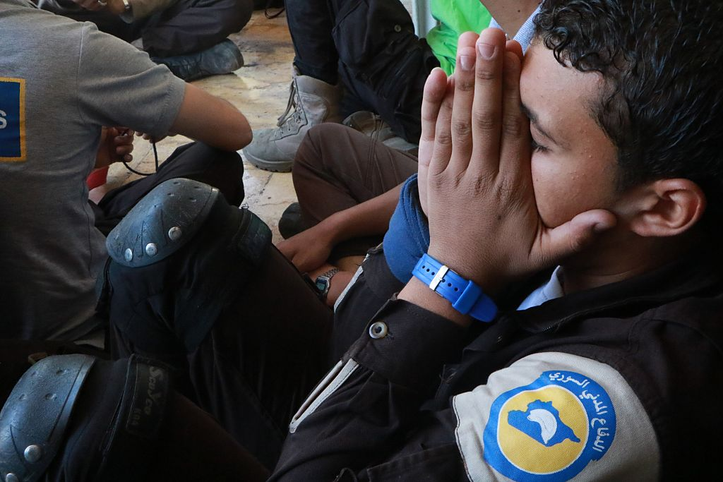 ALEPPO, SYRIA - OCTOBER 7: Members of the Syrian Civil Defense Organization  White Helmets , who were candidates for the Nobel Peace Prize, get upset after the announcement in Aleppo, Syria on October 7, 2016.  (Photo by Ibrahim Ebu Leys/Anadolu Agency/Getty Images)