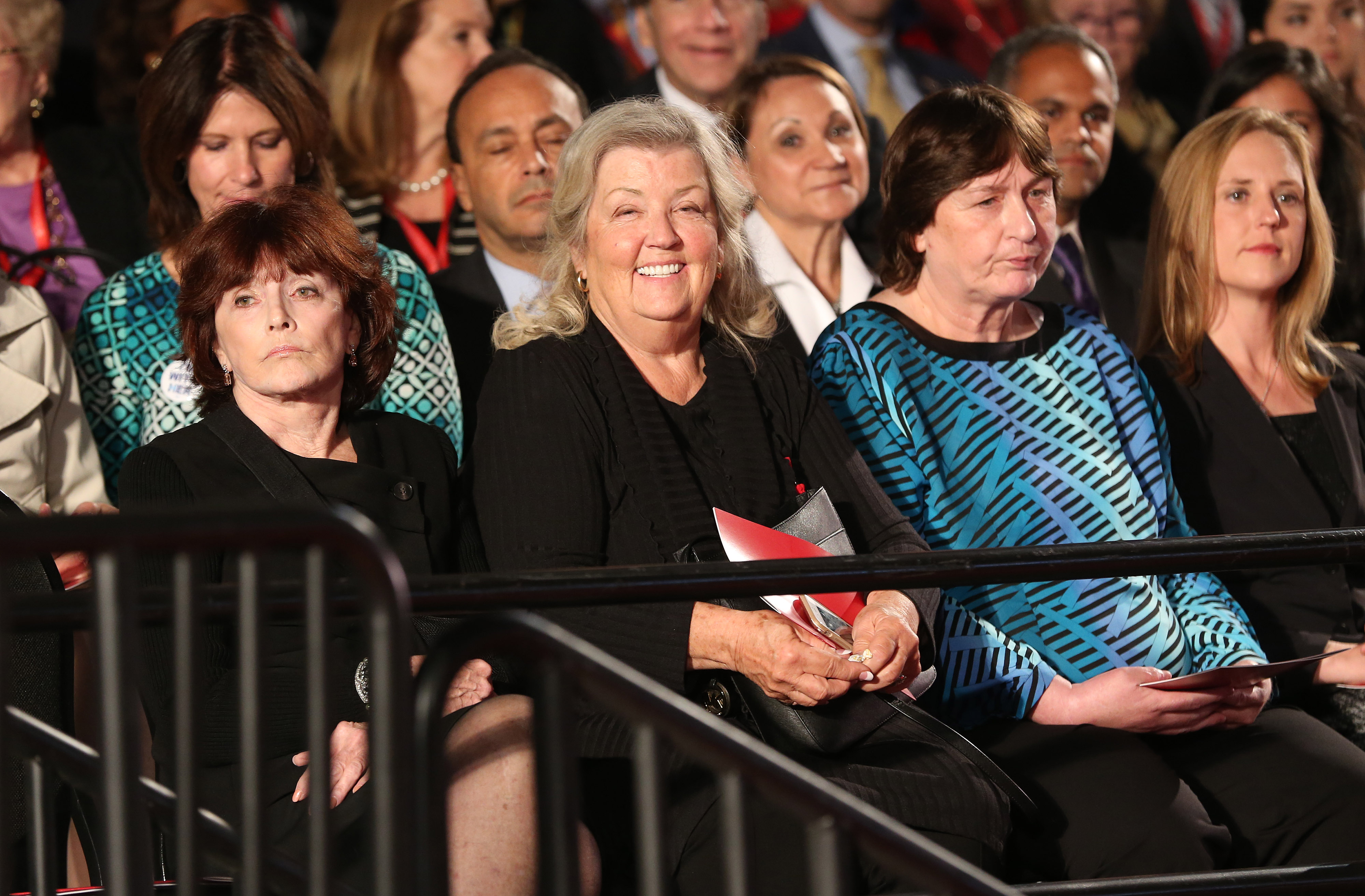 Kathleen Willey, from left, Juanita Broaddrick, and Kathy Shelton sit in the audience ahead of the second U.S. presidential debate at Washington University in St. Louis, Missouri, U.S., on Sunday, Oct. 9, 2016. (Daniel Acker--Bloomberg via Getty Images)
