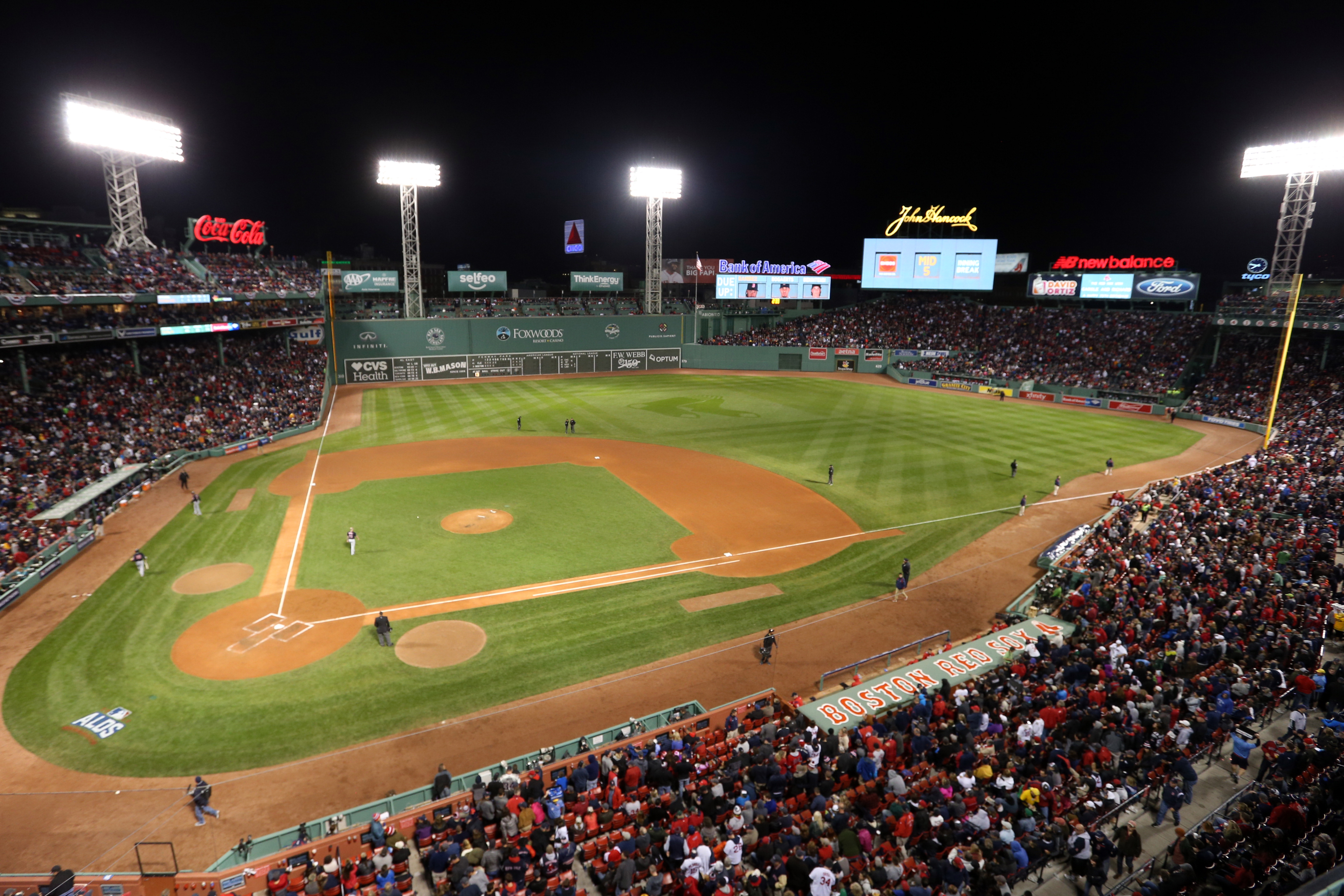 BOSTON, MA - OCTOBER 10:  A general view of Fenway Park during Game 3 of ALDS between the Cleveland Indians and the Boston Red Sox at Fenway Park on Monday, October 10, 2016 in Boston, Massachusetts. (Photo by Rob Tringali/MLB Photos via Getty Images)