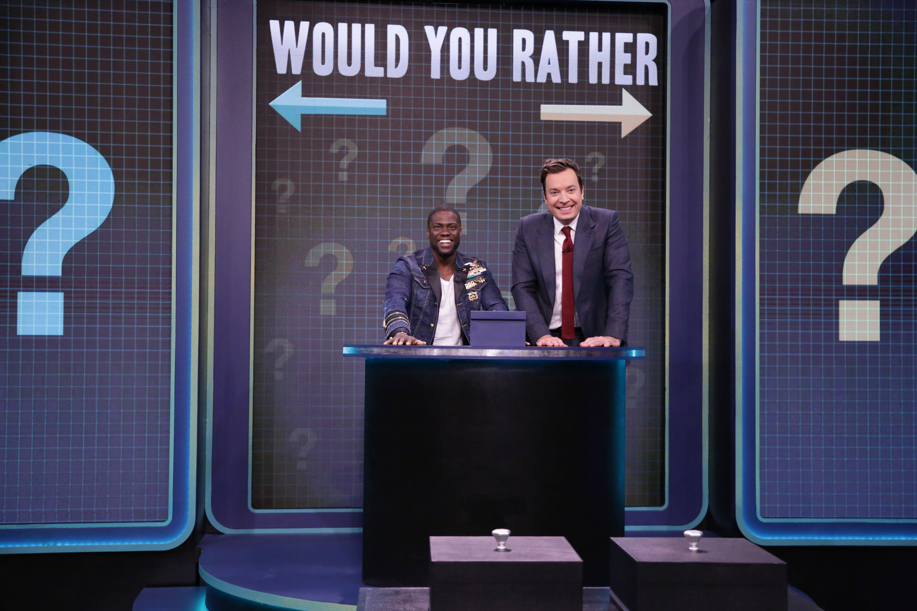 THE TONIGHT SHOW STARRING JIMMY FALLON -- Episode 0552 -- Pictured: (l-r) Actor Kevin Hart and host Jimmy Fallon play 'Would You Rather' on October 11, 2016 -- (Photo by: Andrew Lipovsky/NBC/NBCU Photo Bank via Getty Images)