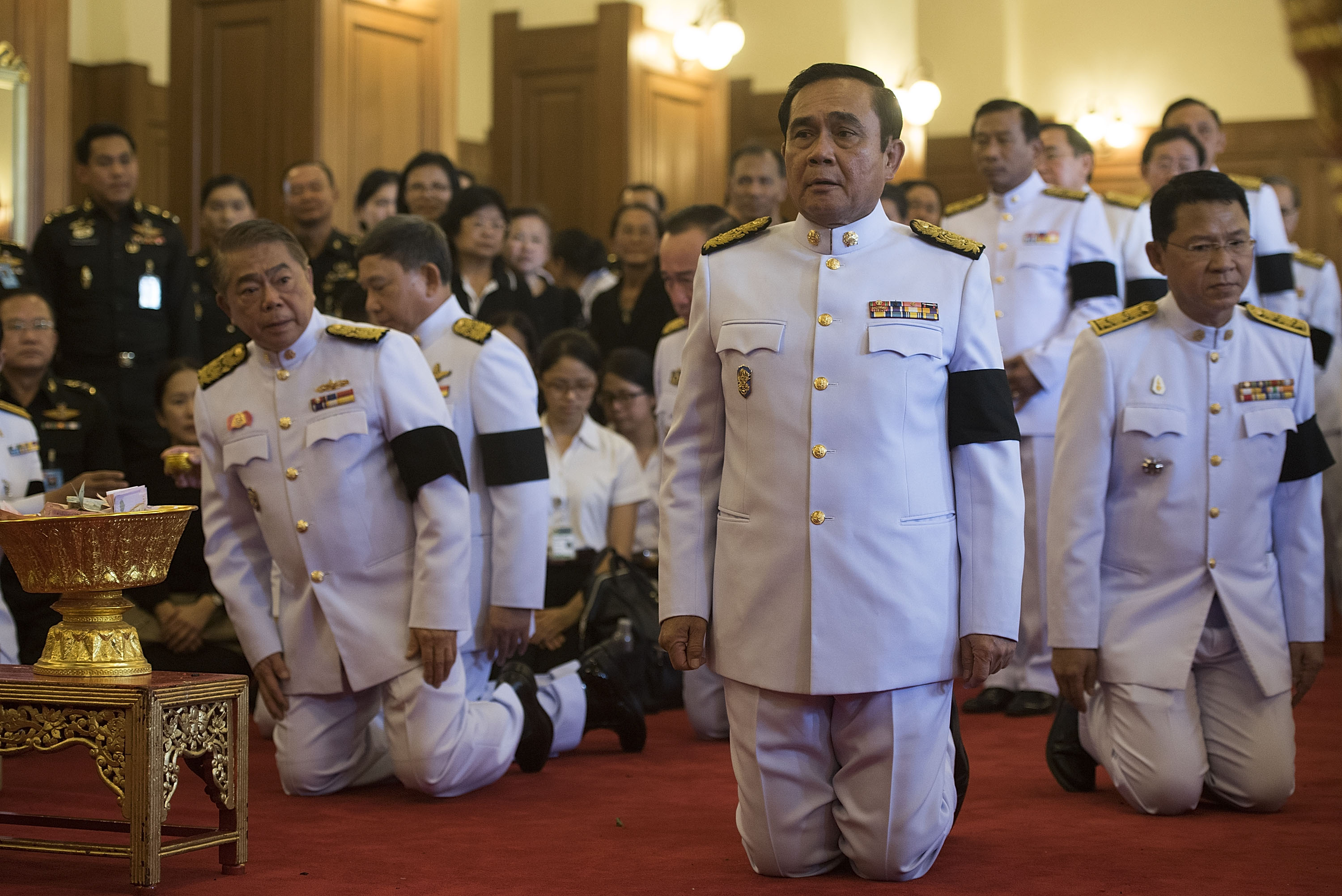Thai junta leader, General Prayuth Chan-ocha, attends the royal bathing ceremony at the Grand Palace on Oct. 14, 2016, in Bangkok
