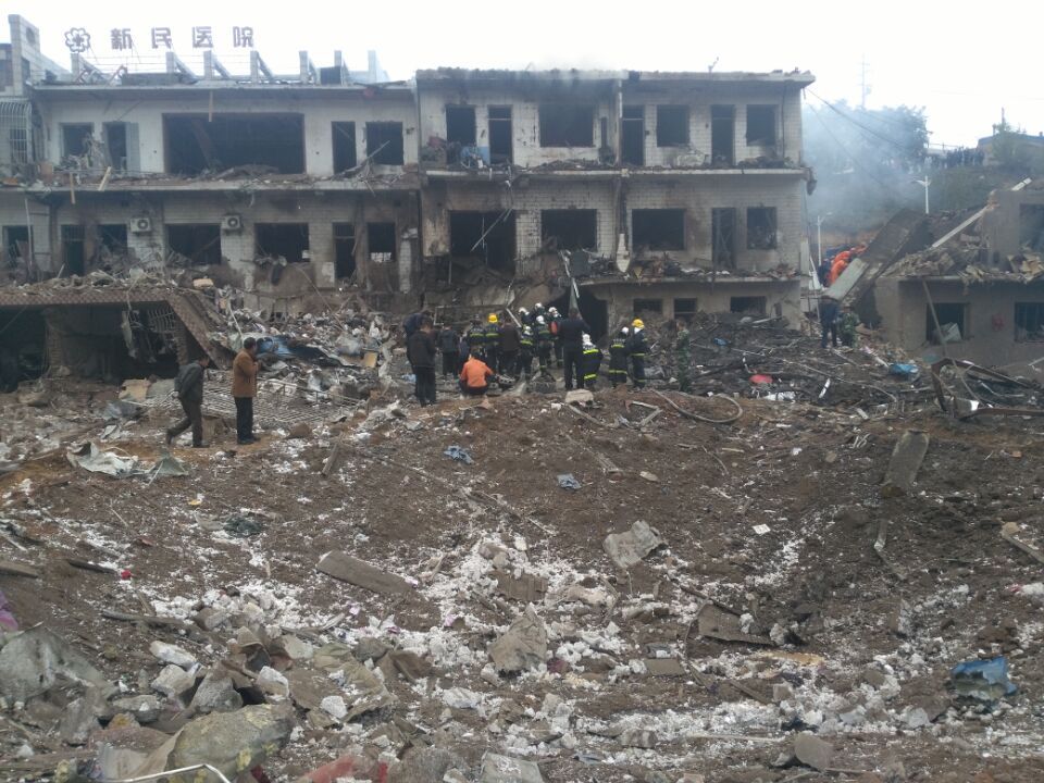 Rescuers work at the site of an explosion in Xinmin township in Fugu county, Shaanxi province, China on Oct. 24, 2016