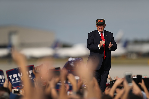 Republican presidential candidate Donald Trump attends a campaign rally at the Million Air Orlando, which is at Orlando Sanford International Airport on October 25, 2016 in Sanford, Florida.