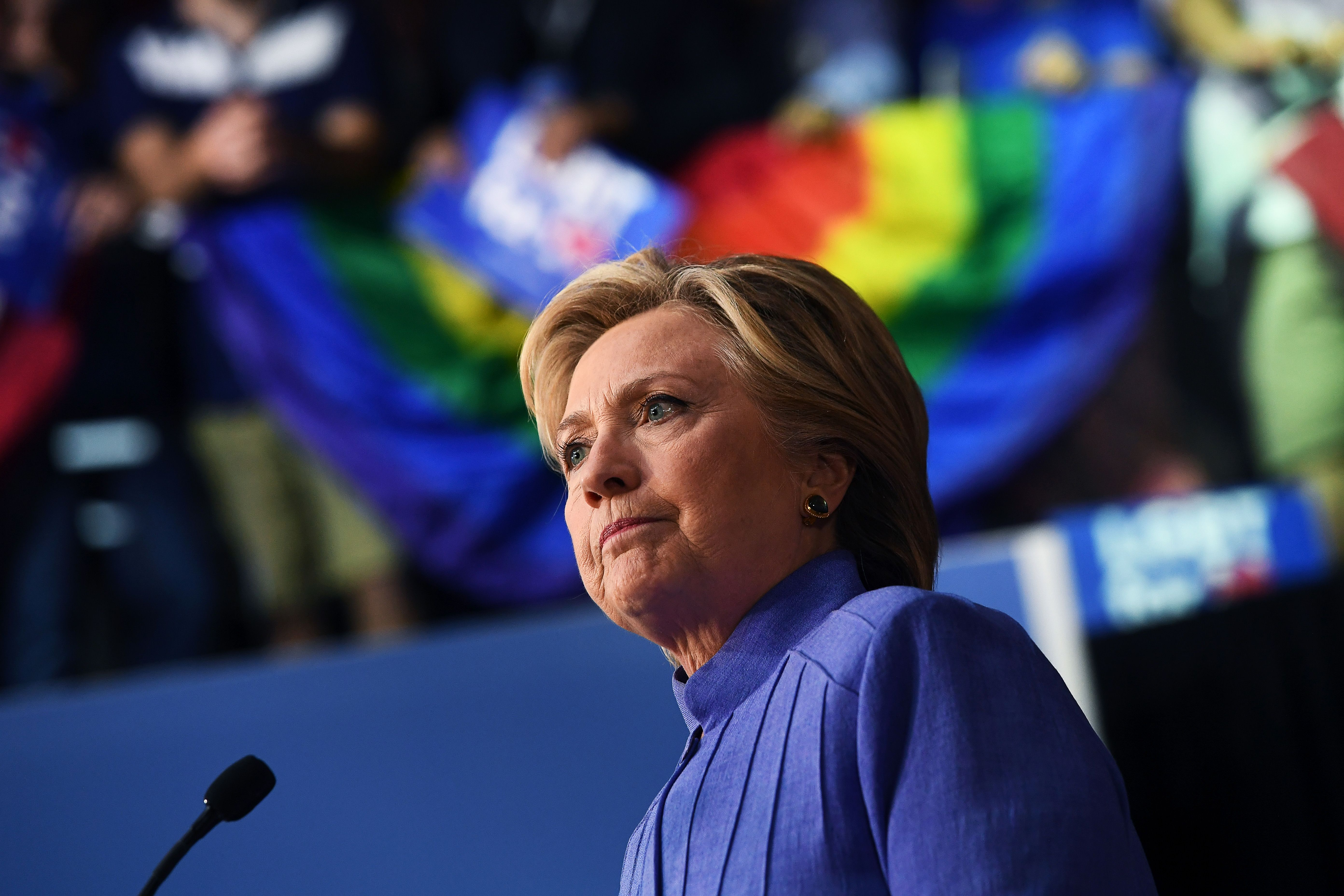 U.S. Democratic presidential nominee Hillary Clinton speaks at a Community in Unity rally in Wilton Manors, Florida, on Oct. 30, 2016.