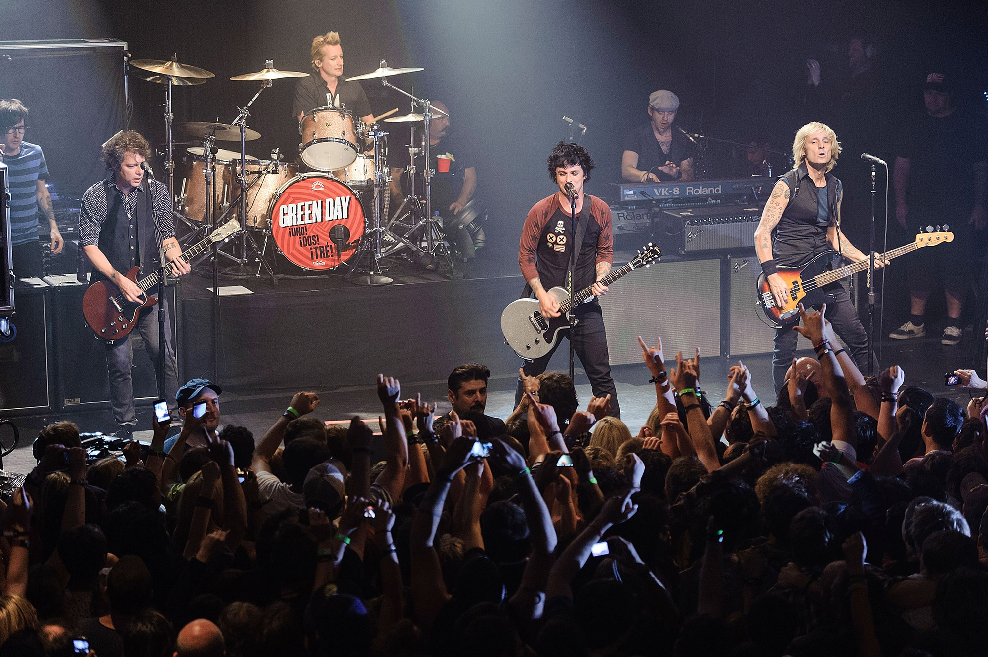 Guitarist Jason White, drummer Tre Cool, guitarist/ vocalist Billie Joe Armstrong and bassist Mike Dirnt of the rock band Green Day perform at Irving Plaza on September 15, 2012 in New York City.  (Photo by Matthew Eisman/Getty Images)