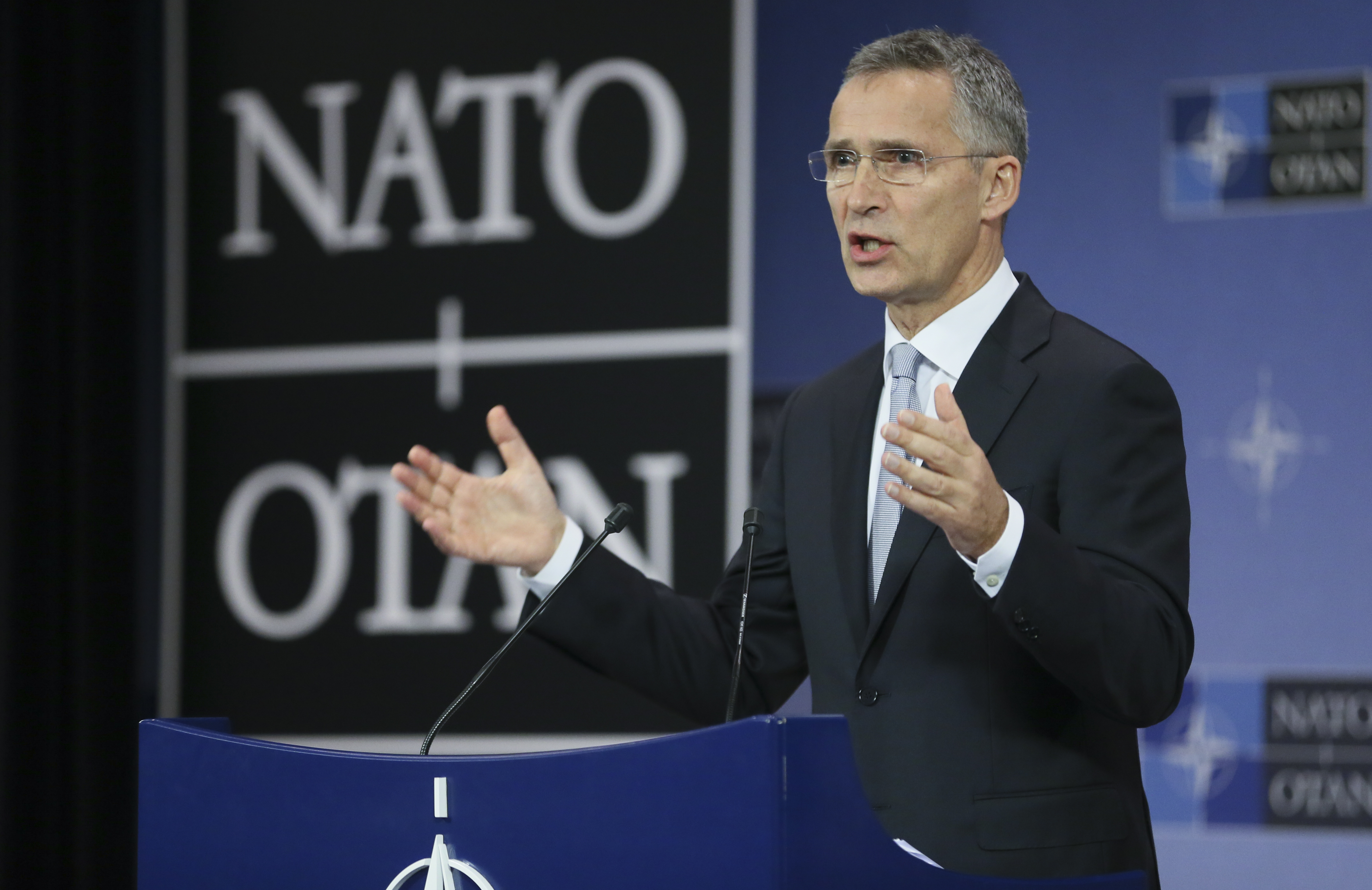 North Atlantic Treaty Organization (NATO) Secretary General Jens Stoltenberg gives a press conference ahead of the Defense Ministers Council at Alliance headquarters in Brussels, Belgium, 25 Oct.2016.