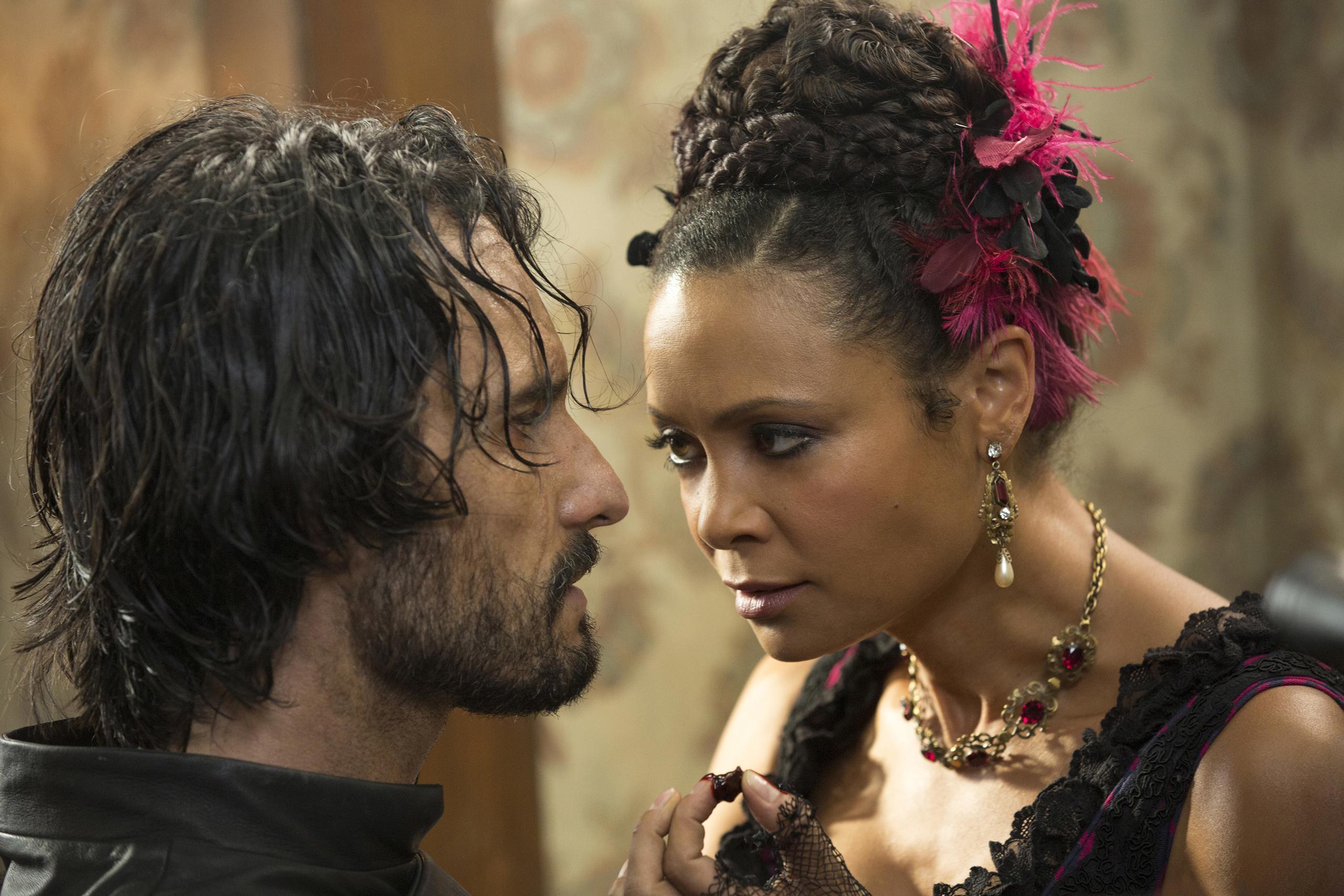 Rodrigo Santoro and Thandie Newton in Westworld