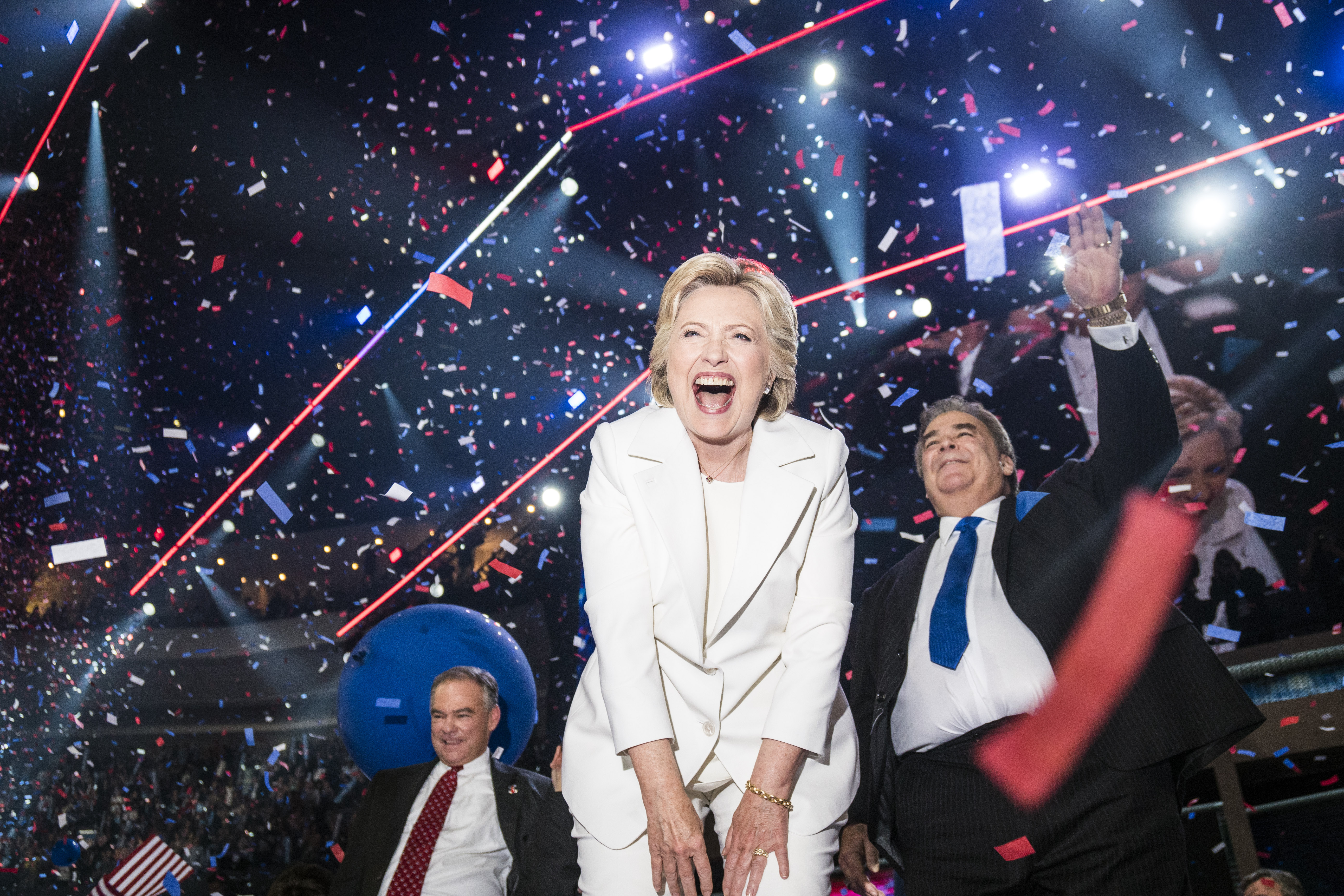 An ecstatic Hillary Clinton celebrates at the conclusion of the Democratic National Convention where she accepted the nomination in Philadelphia, on July 28, 2016.