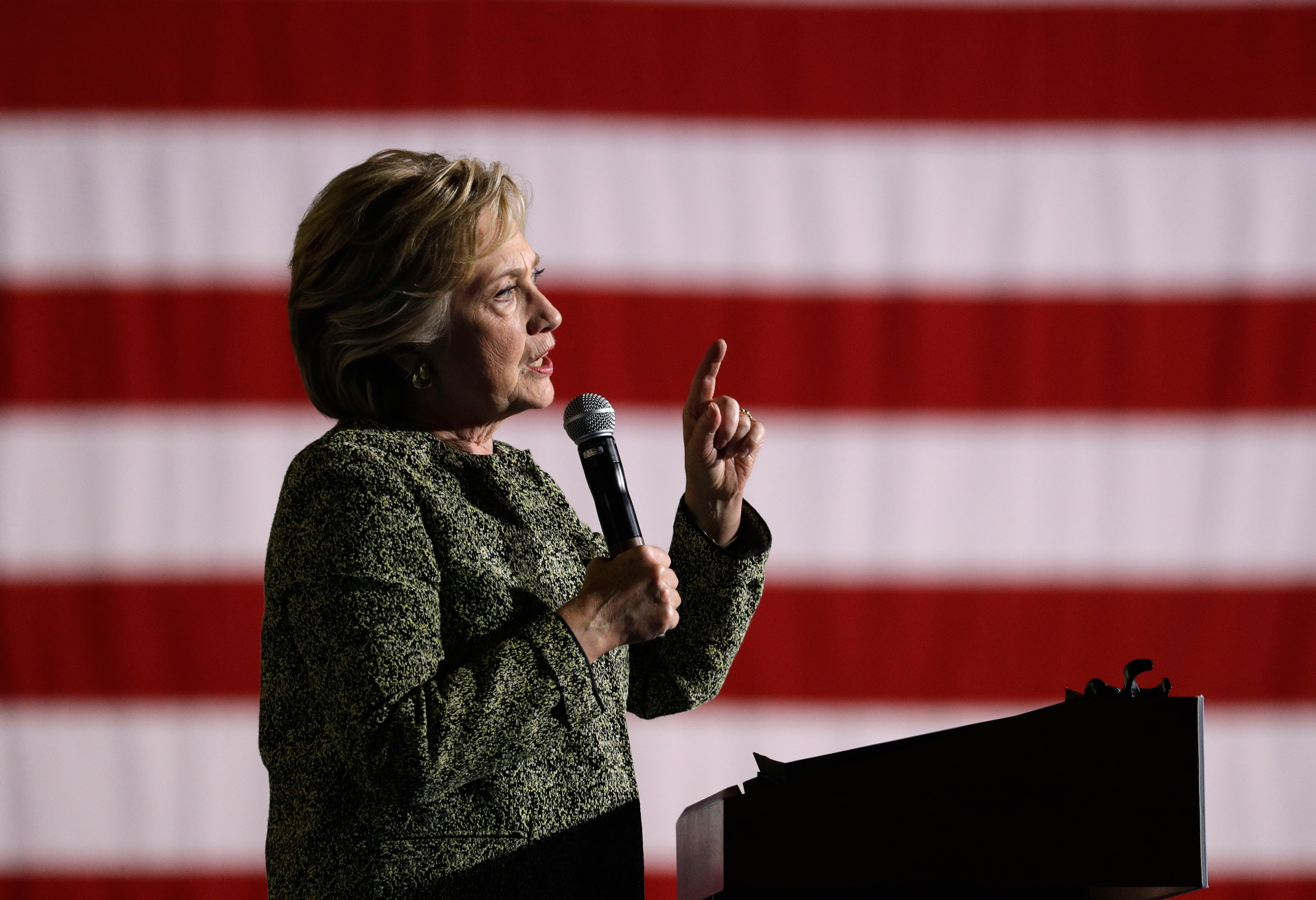 Democratic presidential candidate Hillary Clinton speaks at a rally in Las Vegas on Oct. 12, 2016.