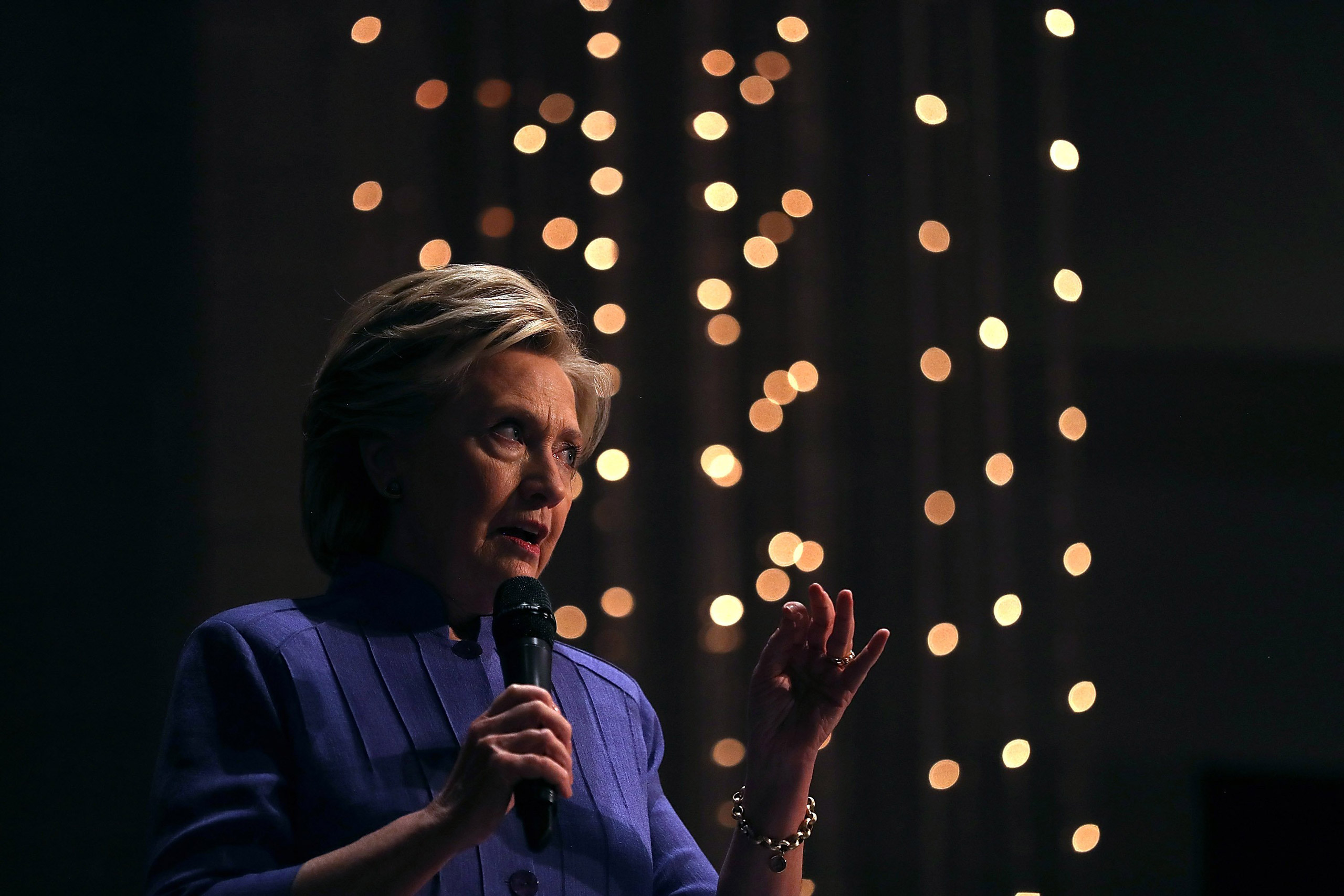 Democratic presidential nominee Hillary Clinton speaks during church services at New Mount Olive Baptist Church in Ft Lauderdale, Fla., on Oct. 30, 2016.