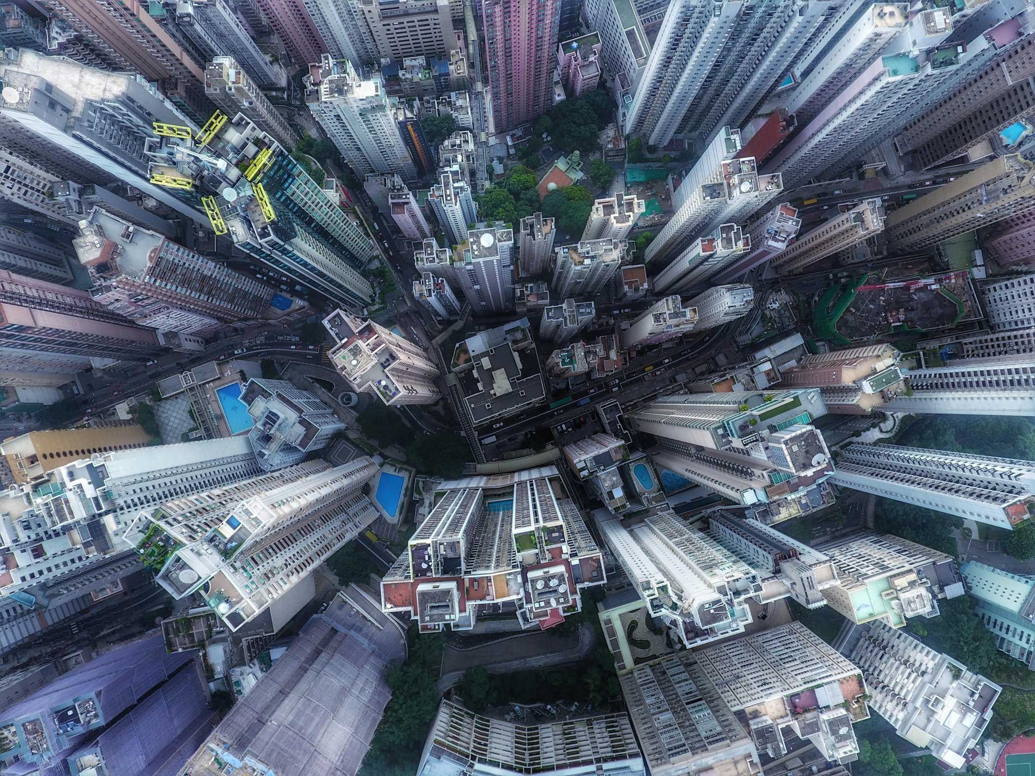 Over the streets of Hong Kong