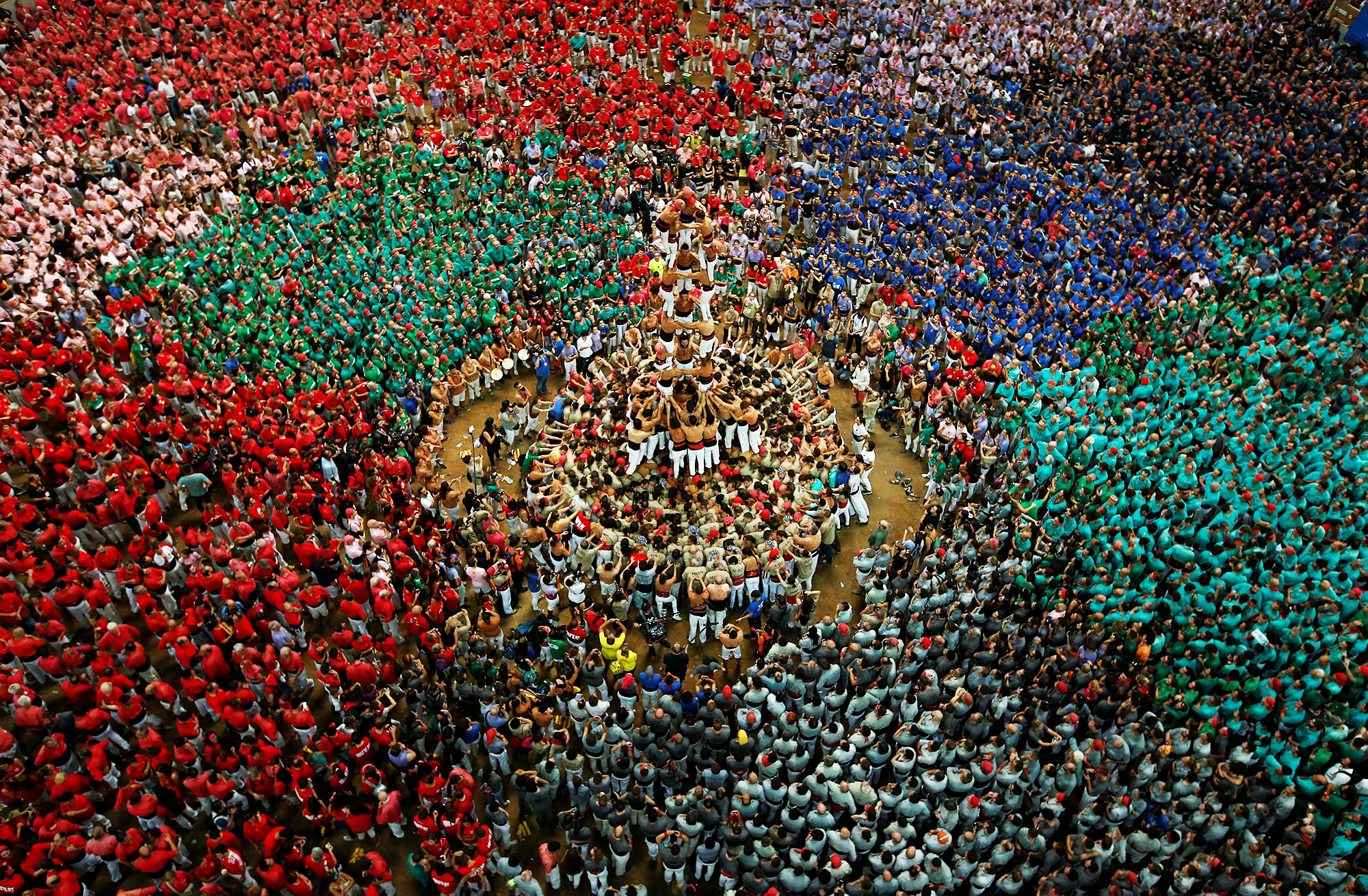 Xiquets de Reus  form a human tower during a competition in Tarragona, Spain, on Oct. 2, 2016.