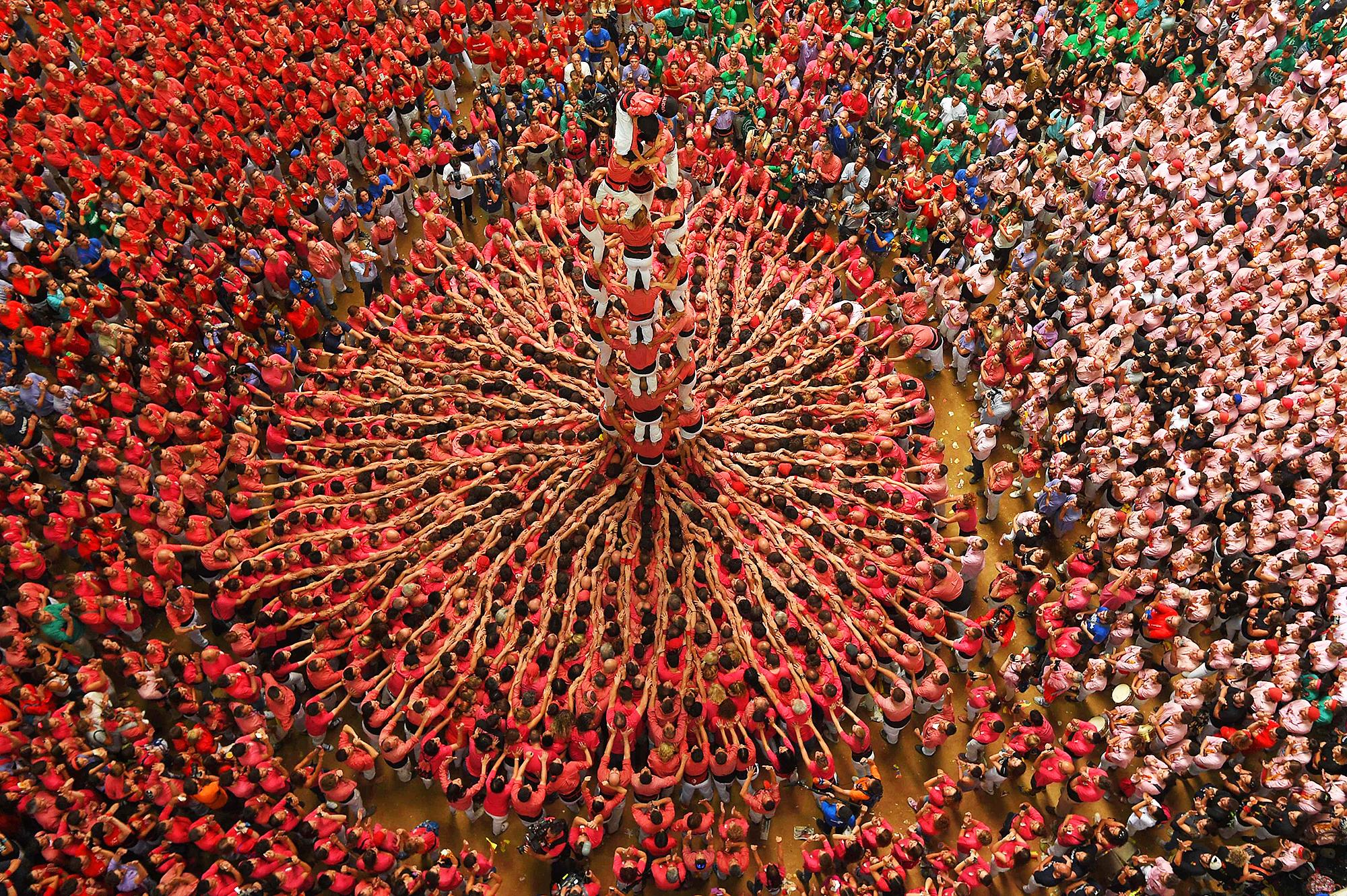 Colla Vella dels Xiquets de Valls  in Tarragona, Spain, on Oct. 2, 2016.