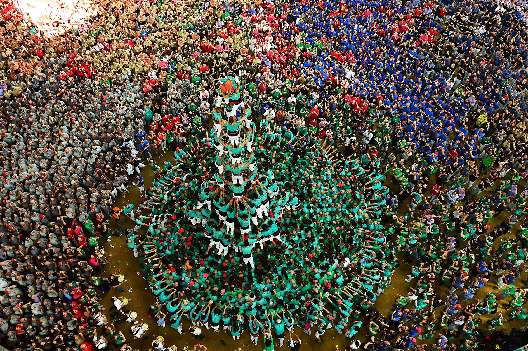 Colla Jove Xiquets de Tarragona  in Tarragona, Spain, on Oct. 2, 2016.