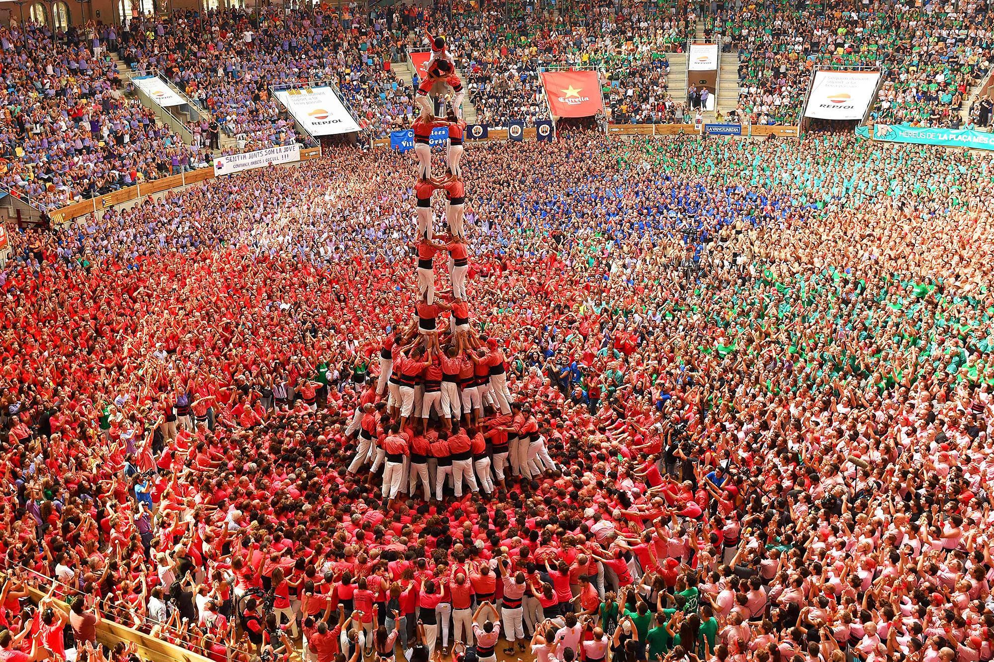 Colla Vella dels Xiquets de Valls  in Tarragona, Spain on Oct. 2, 2016.