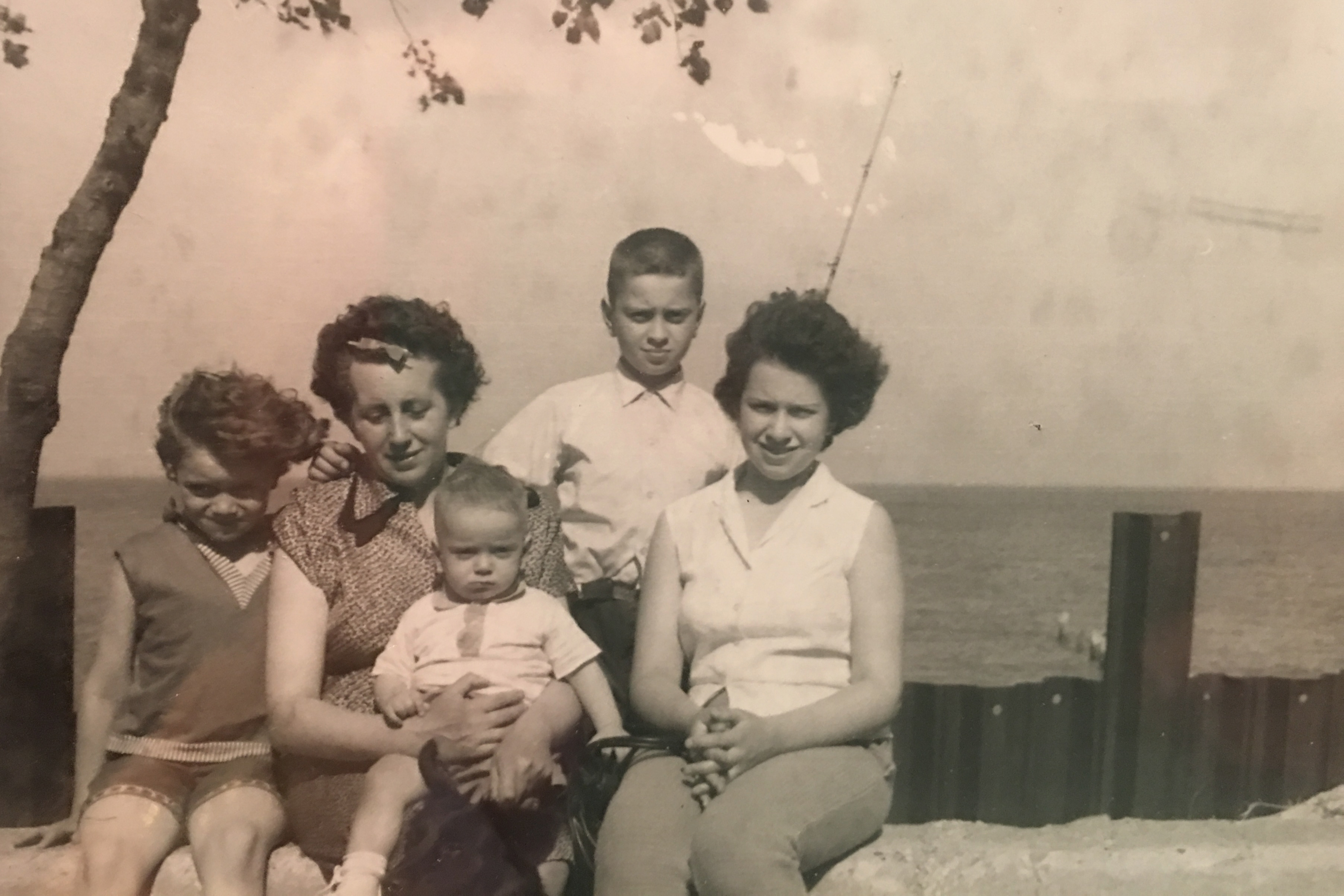 Susan Peterson, Rosalie Buky, Gabriel Buky, Judith Kepecz-Hays and John Buky  by Lake Michigan in 1963.